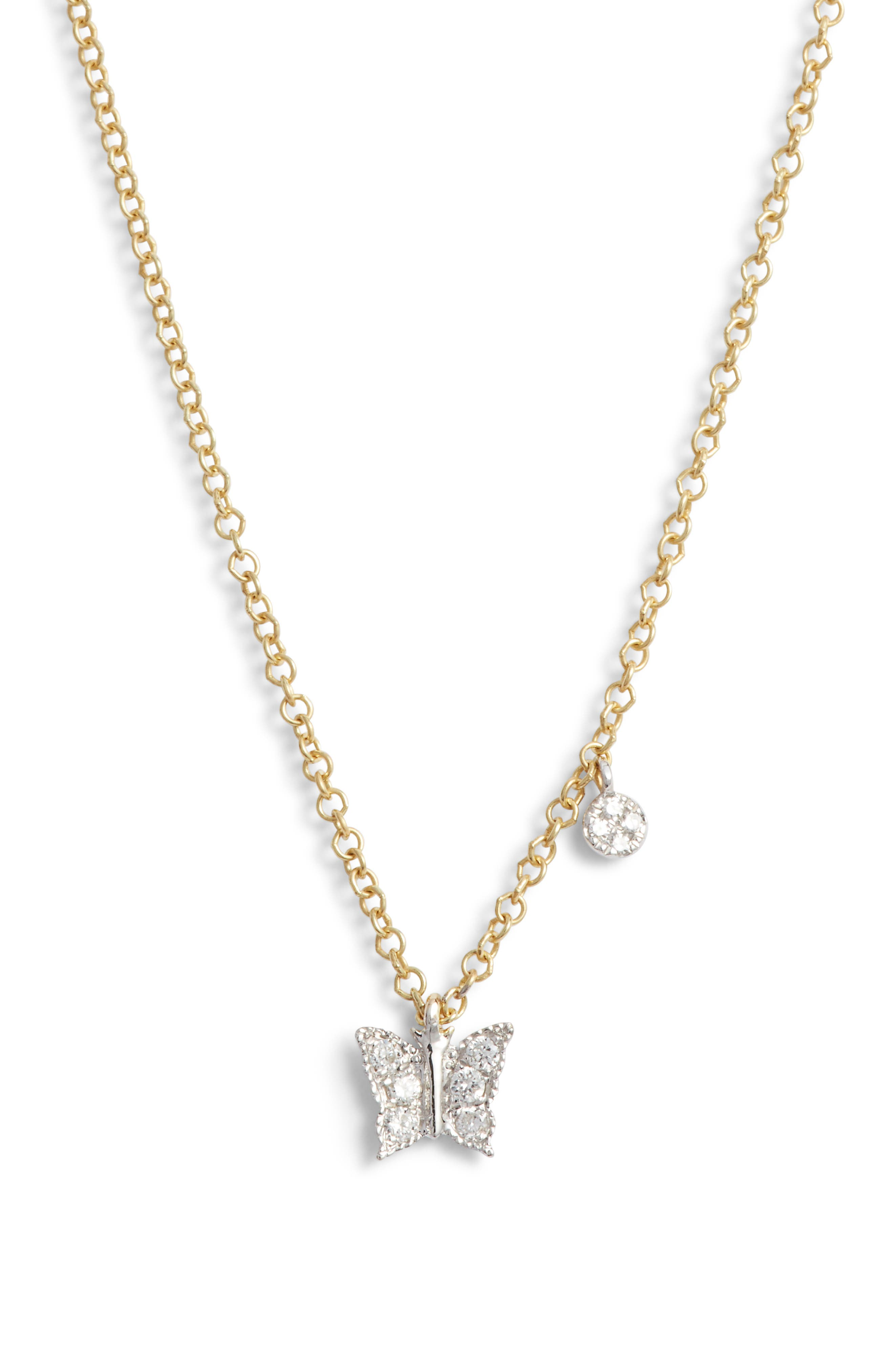 MEIRA T Diamond Butterfly Pendant Necklace in Gold