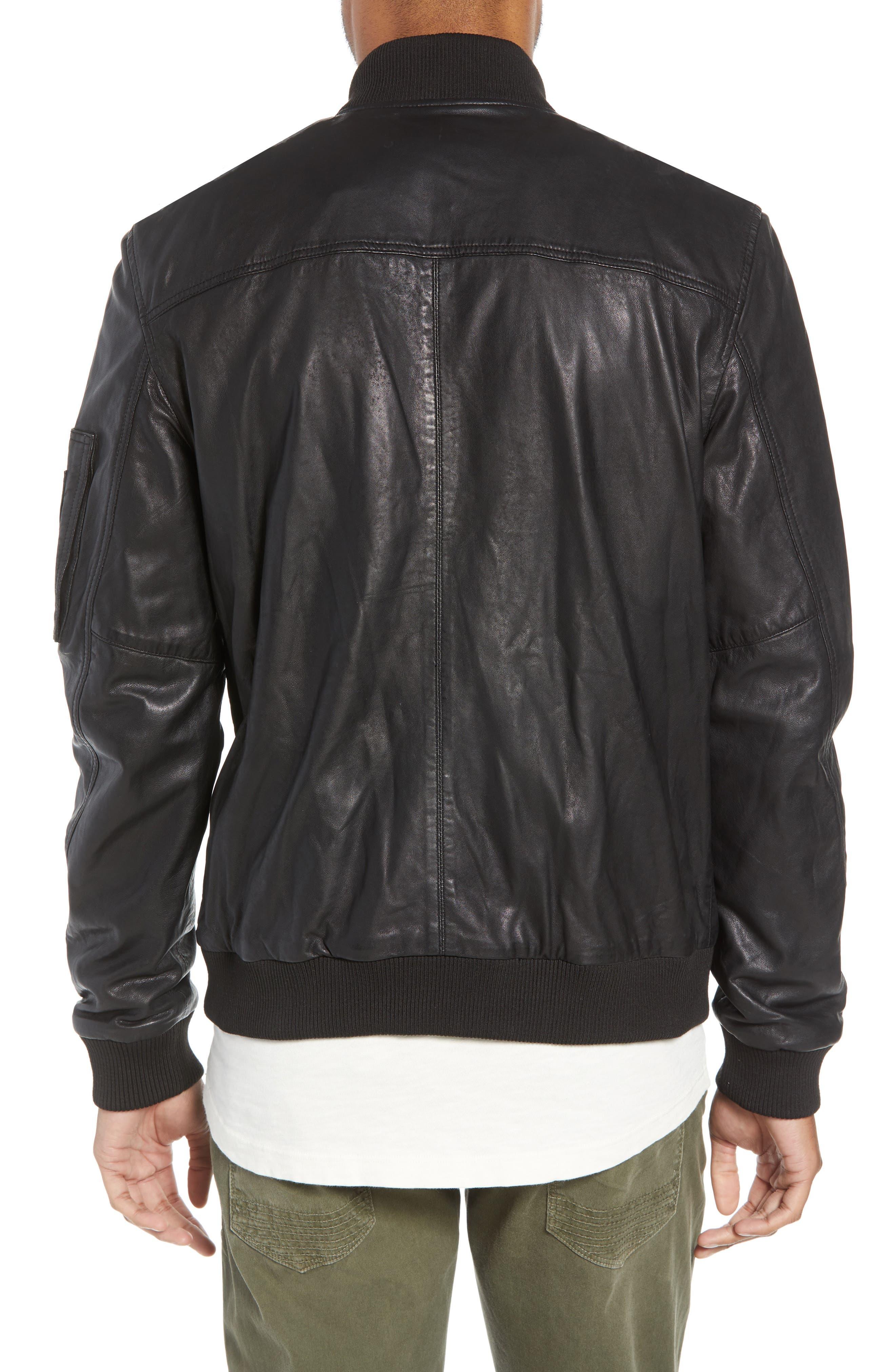 Hudson Leather Bomber Jacket,                             Alternate thumbnail 2, color,                             001
