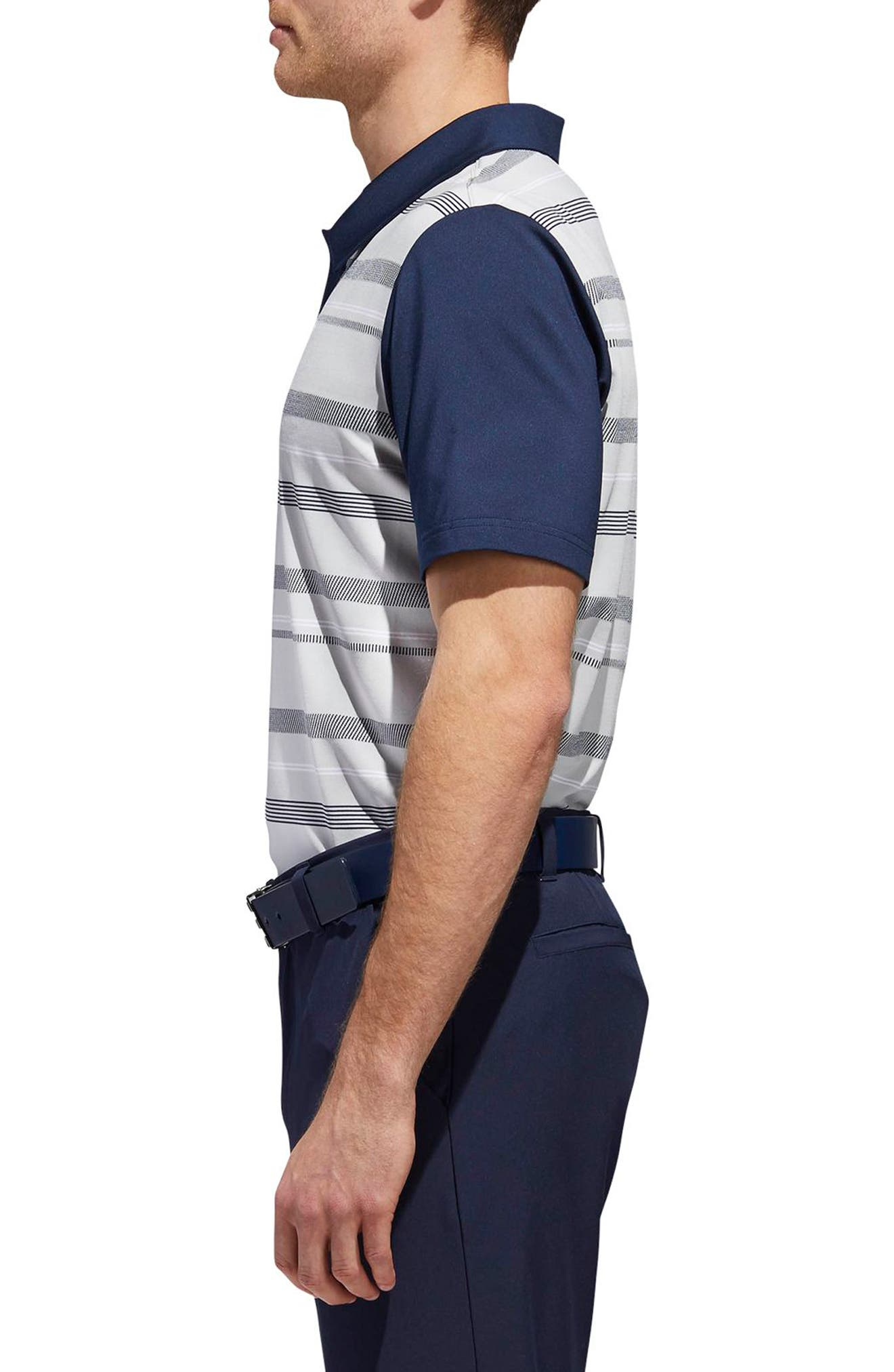 adidas Ultimate Stripe Regular Fit Polo Shirt,                             Alternate thumbnail 3, color,                             GREY/ NAVY
