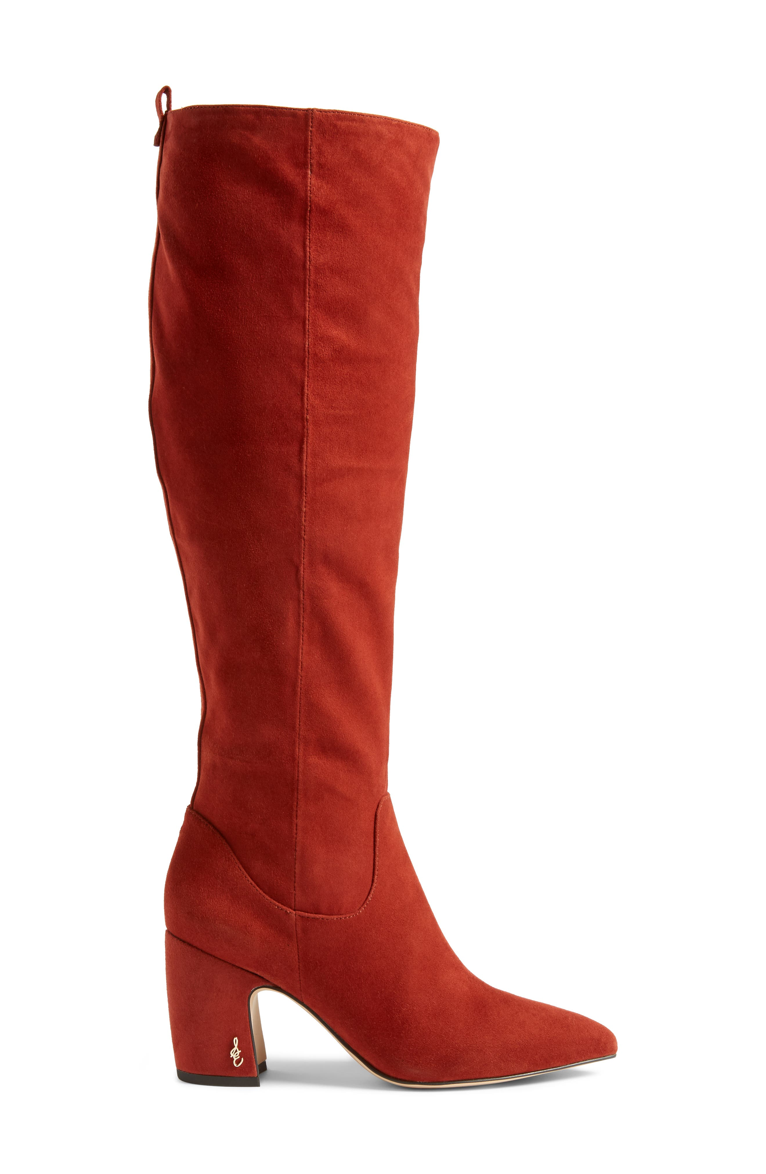 Hai Knee High Boot,                             Alternate thumbnail 3, color,                             PAPRIKA SUEDE