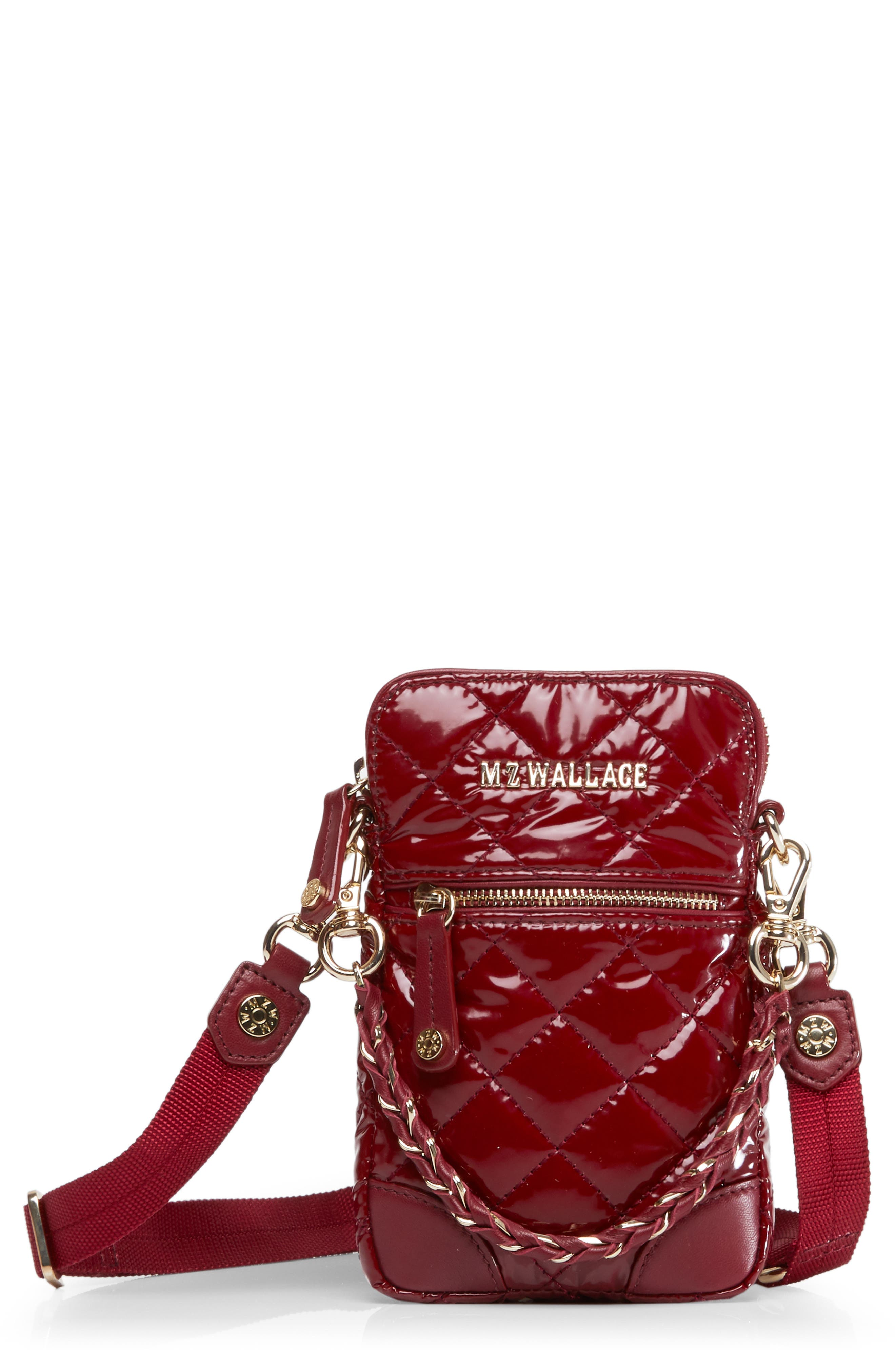Micro Quilted Crossbody Bag in Cranberry Lacquer