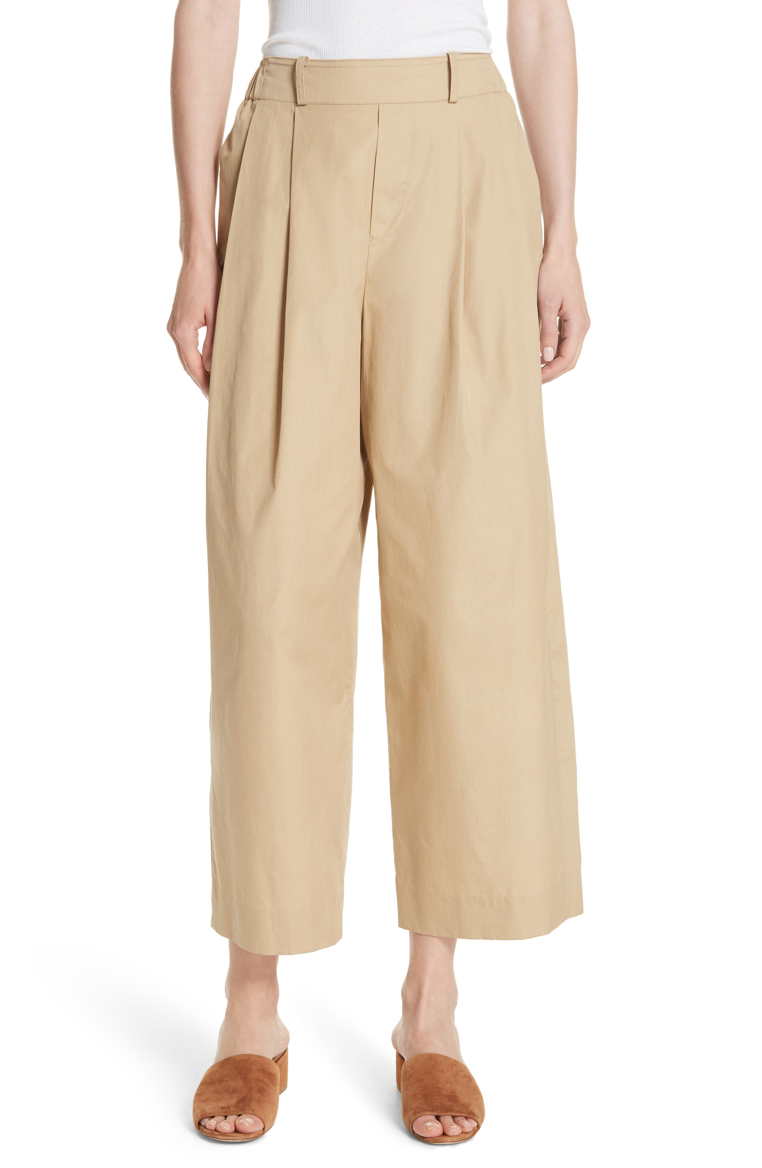 Wide Leg Polished Cotton Pants,                         Main,                         color, KHAKI