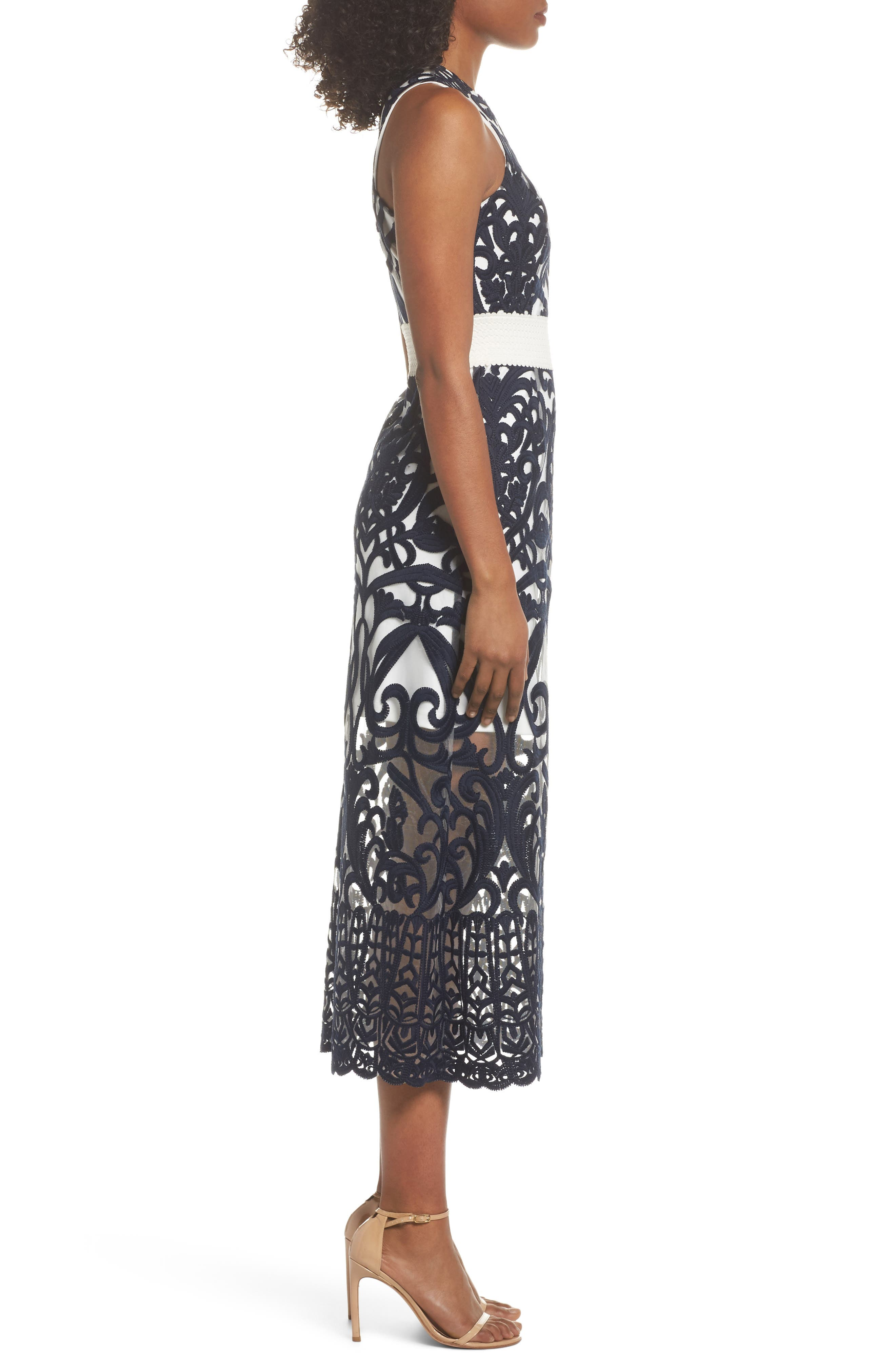 Rosabel Embroidered Midi Dress,                             Alternate thumbnail 3, color,                             410