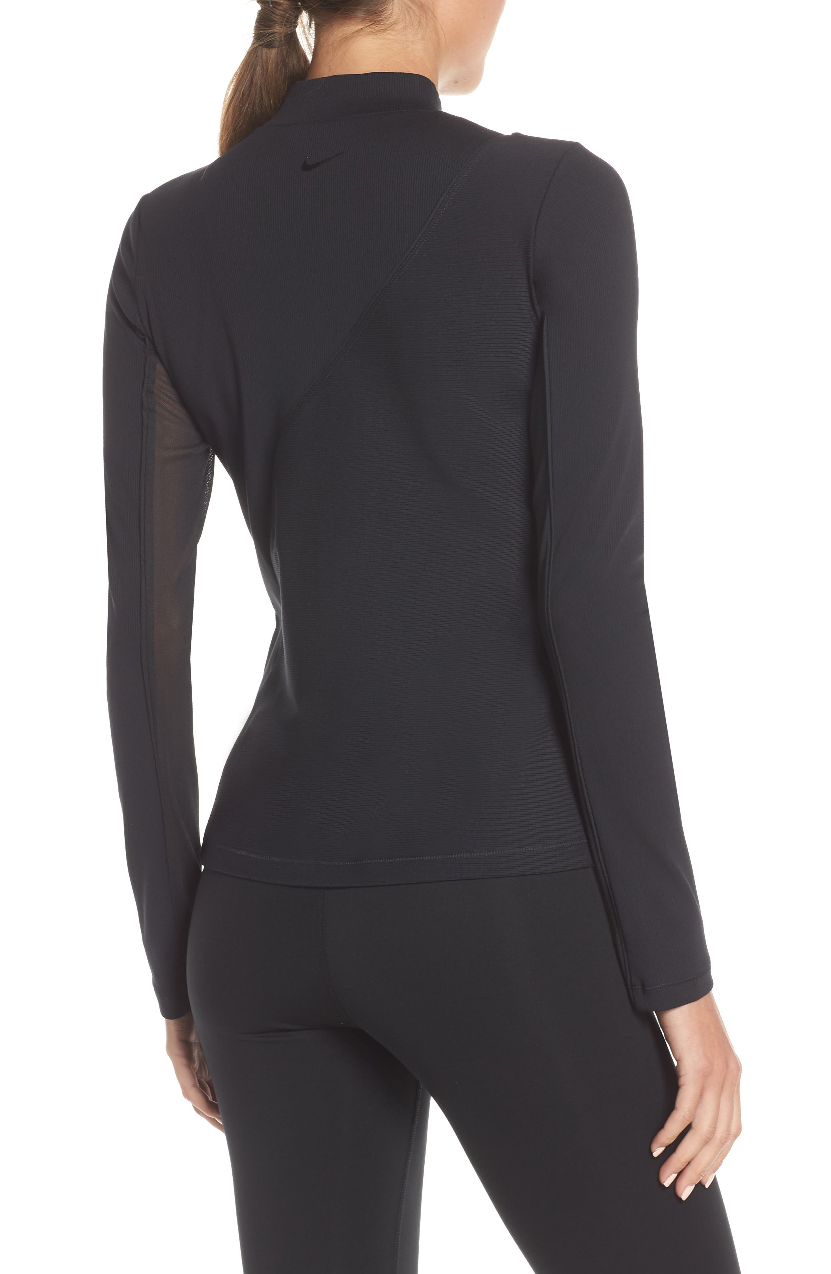 The Nike Pro HyperCool Women's Long Sleeve Ribbed Top,                             Alternate thumbnail 2, color,                             BLACK/ CLEAR
