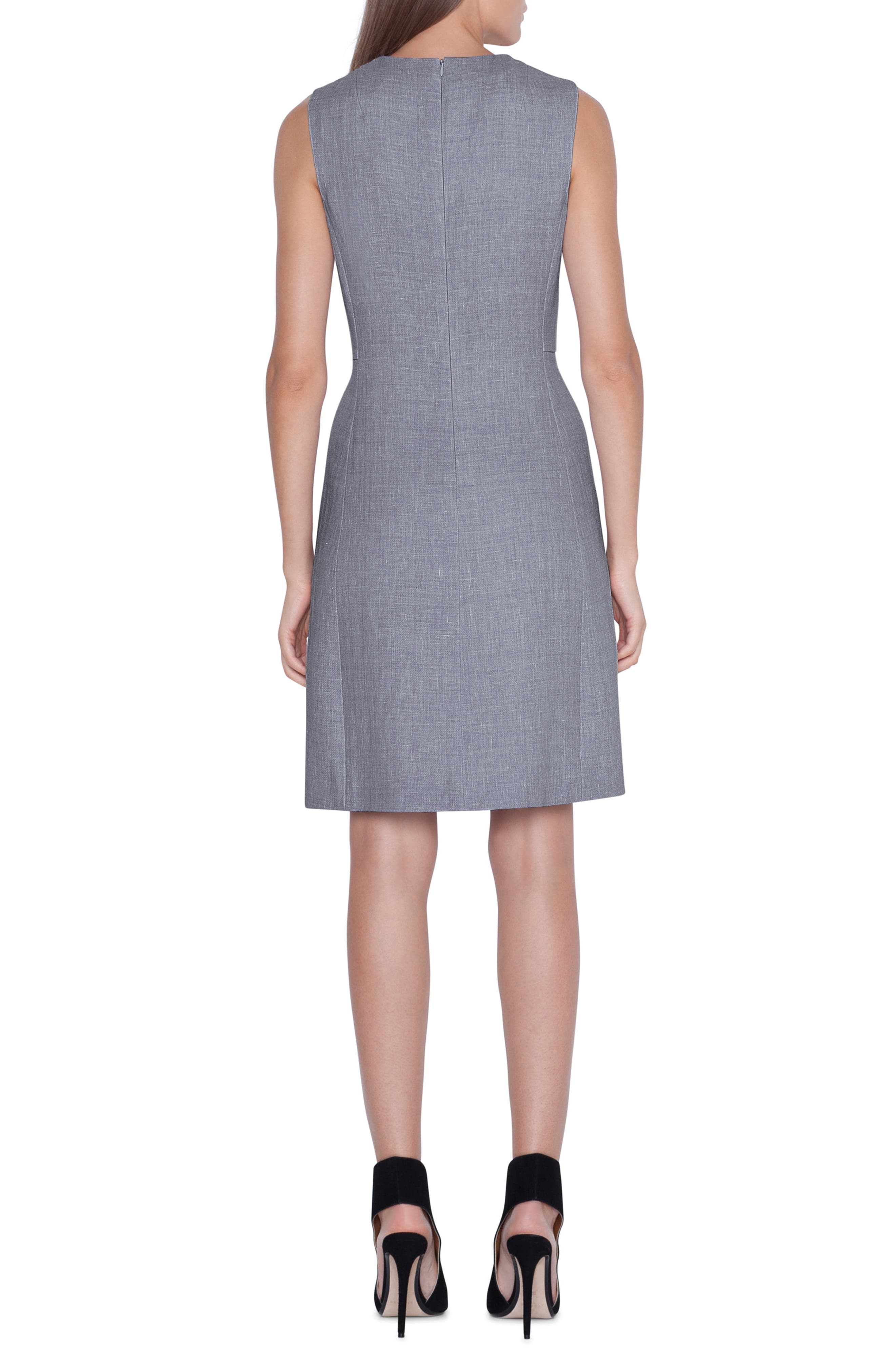 AKRIS,                             Linen & Wool Seamed Sheath Dress,                             Alternate thumbnail 2, color,                             TITAN