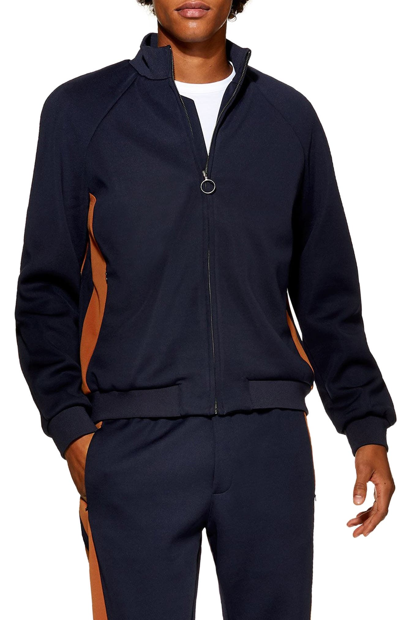 Domino Revere Zip Jacket,                             Main thumbnail 1, color,                             NAVY BLUE