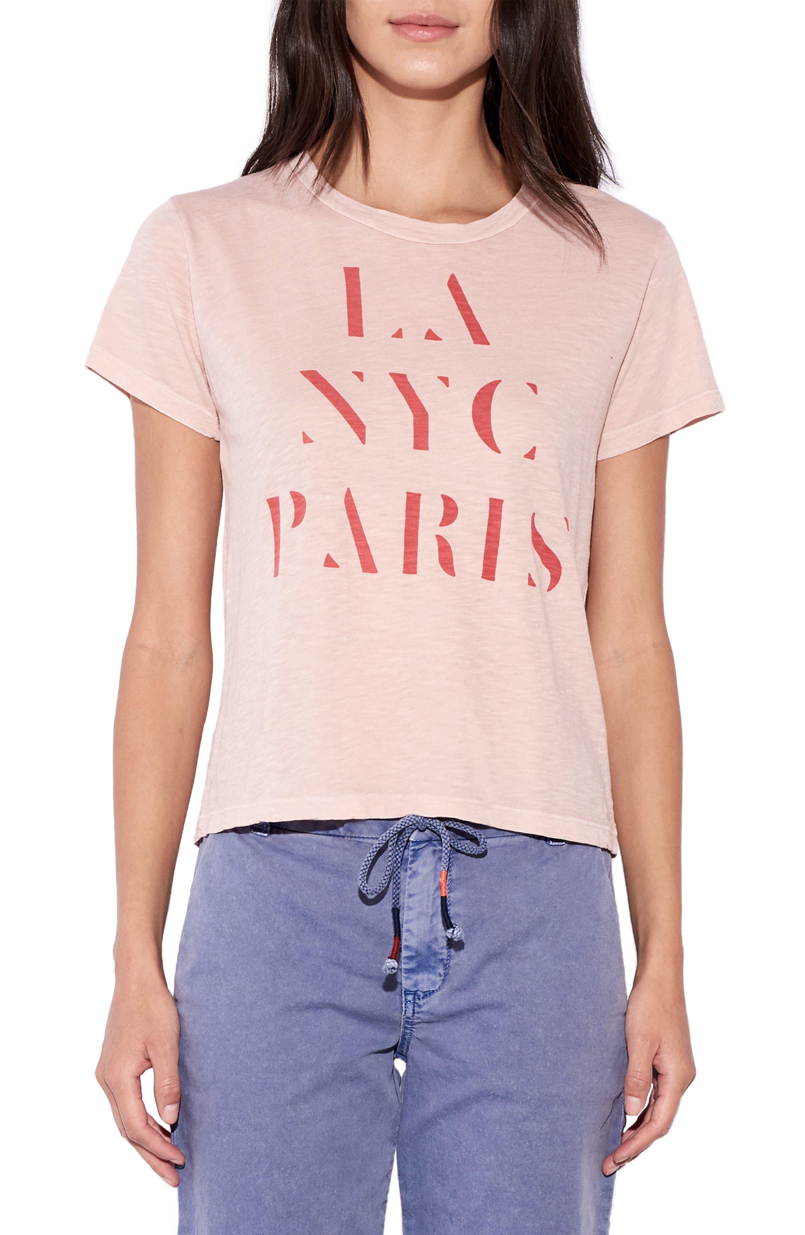 SUNDRY LA/NYC/Paris Graphic Tee, Main, color, PIGMENT BLUSH