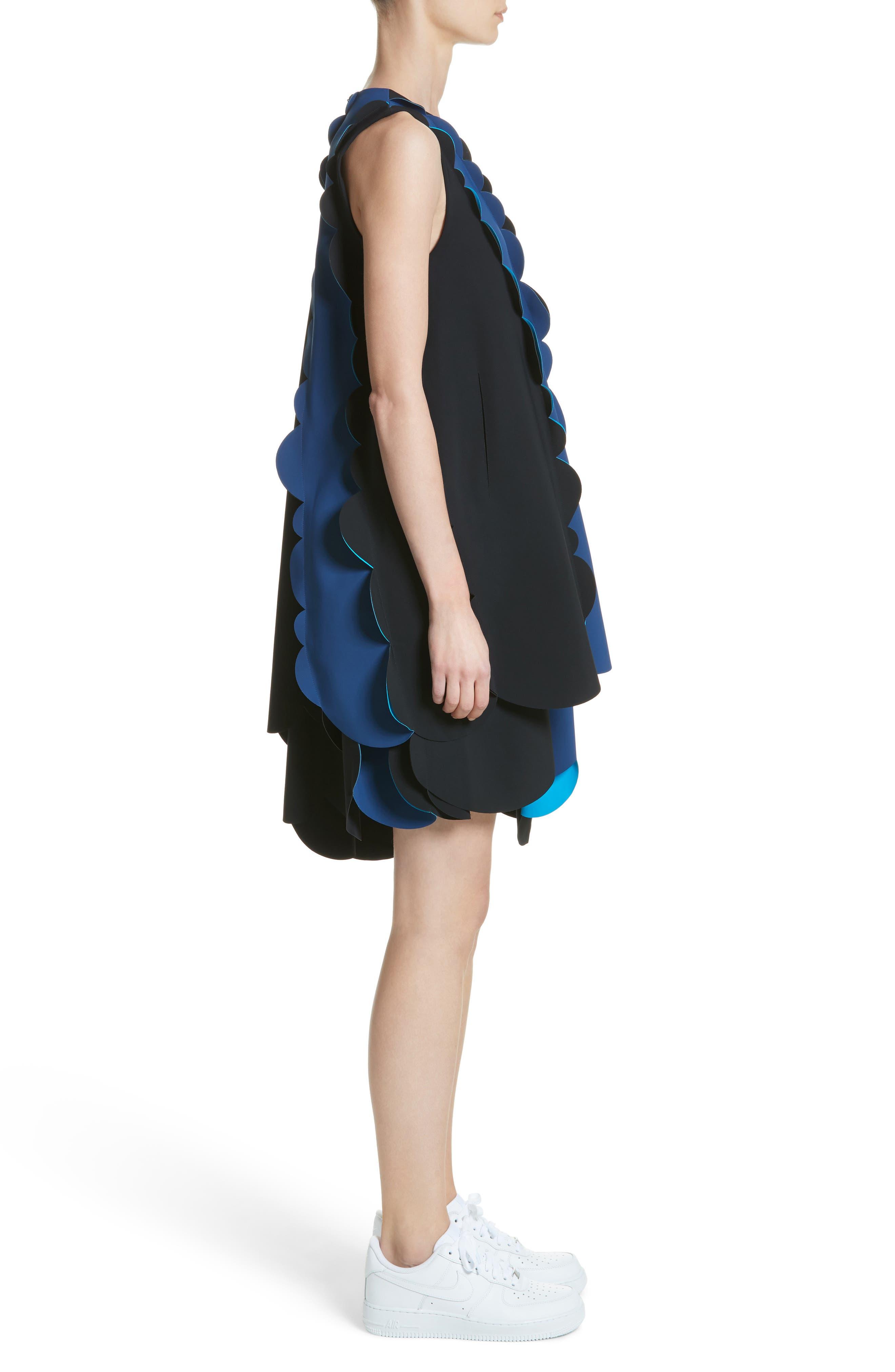 Scalloped Asymmetrical Minidress,                             Alternate thumbnail 3, color,                             001