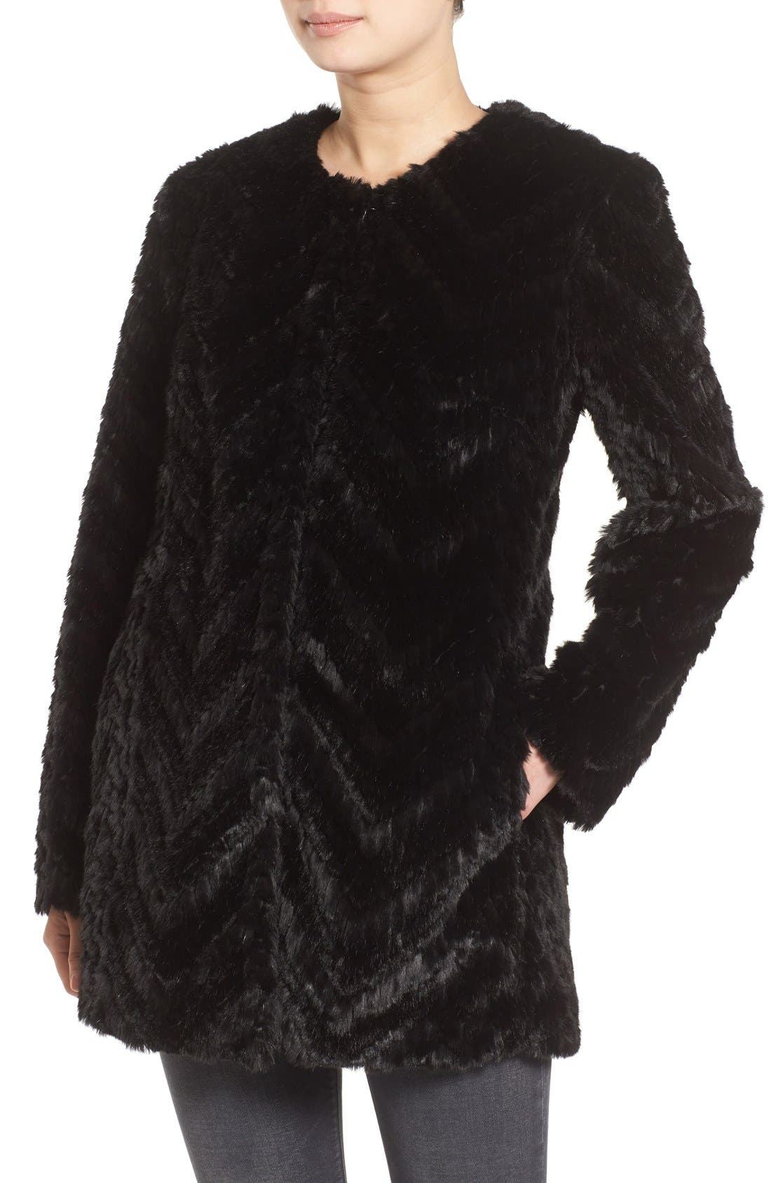 Tiered Faux Fur Topper,                             Alternate thumbnail 4, color,                             001