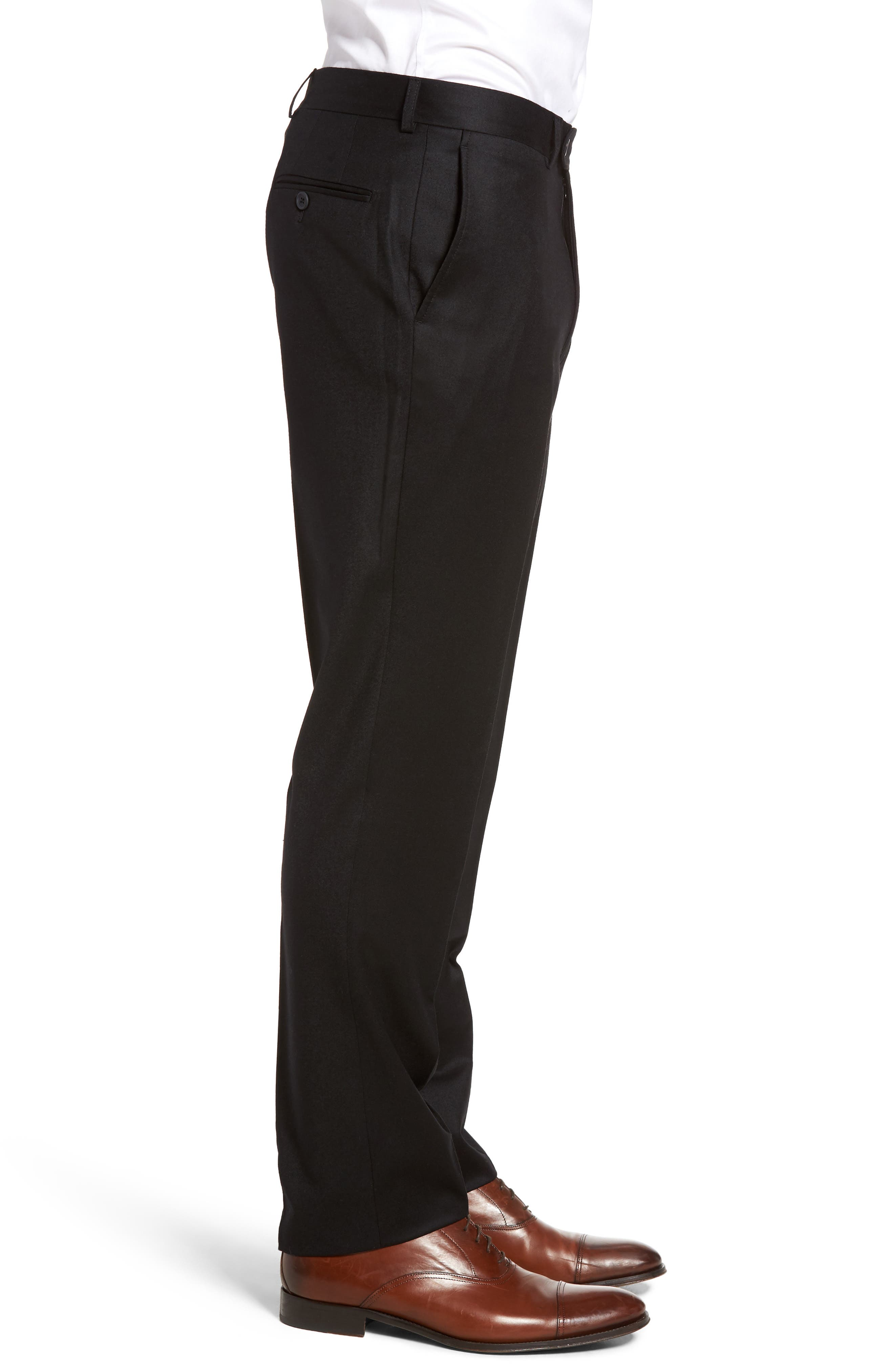 Flannel Wool Trousers,                             Alternate thumbnail 4, color,                             001