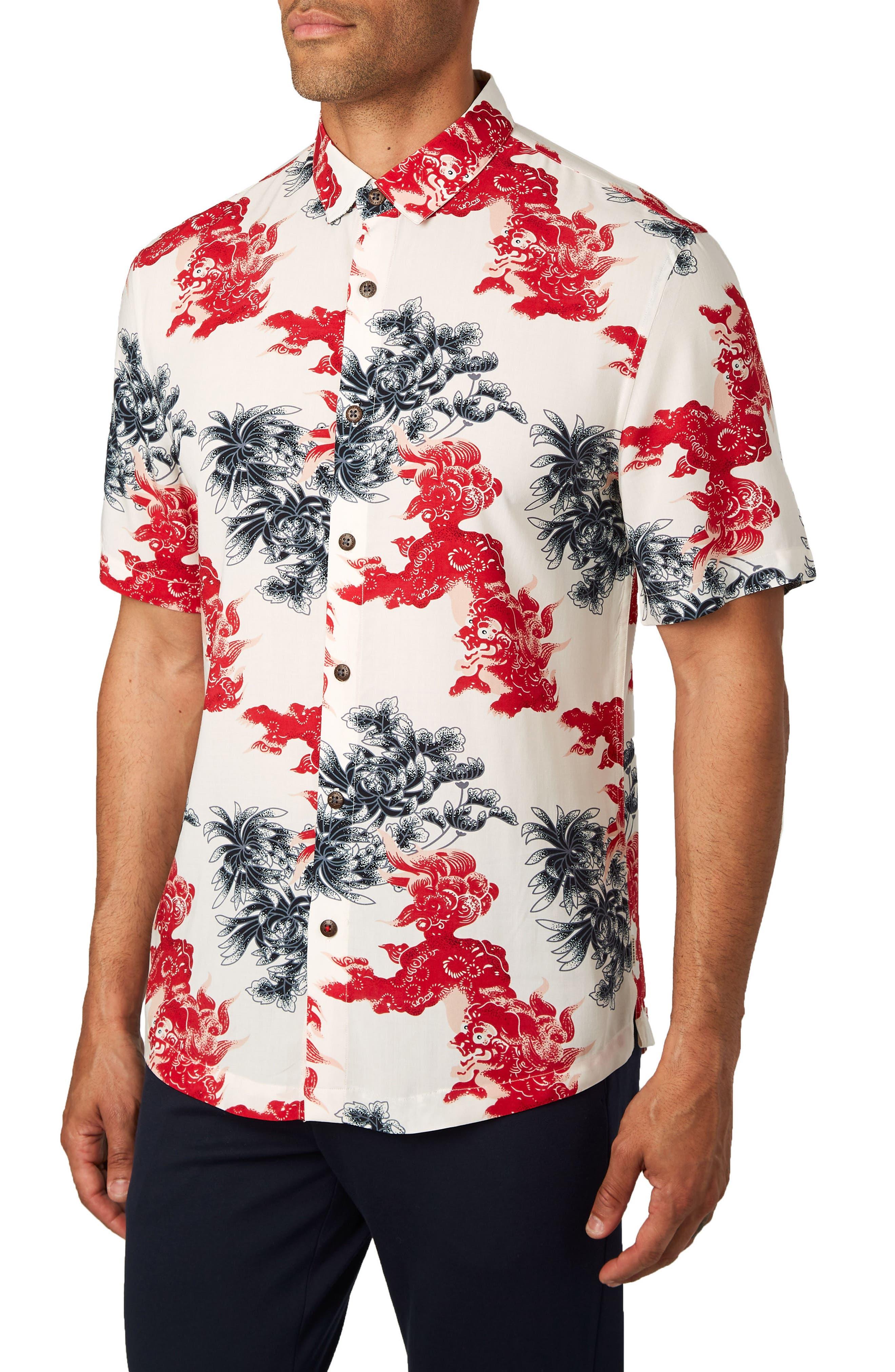 Habanero Trim Fit Print Sport Shirt,                             Alternate thumbnail 4, color,                             600