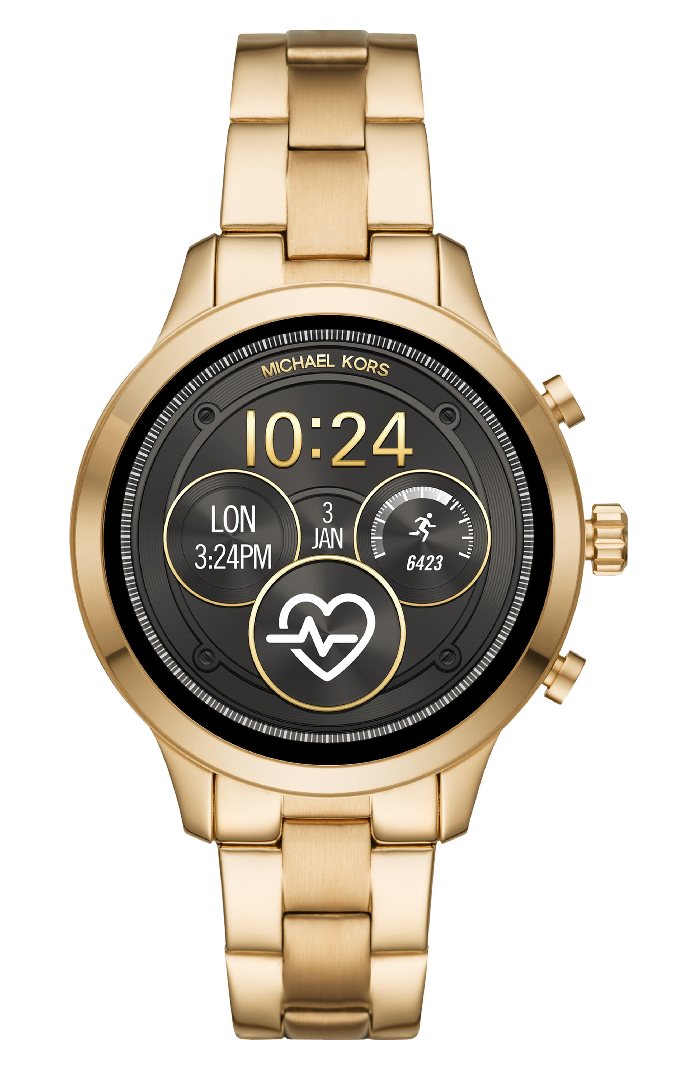 MICHAEL KORS,                             MICHAEL Michael Kors Access Runway Smart Bracelet Watch, 41mm,                             Main thumbnail 1, color,                             GOLD