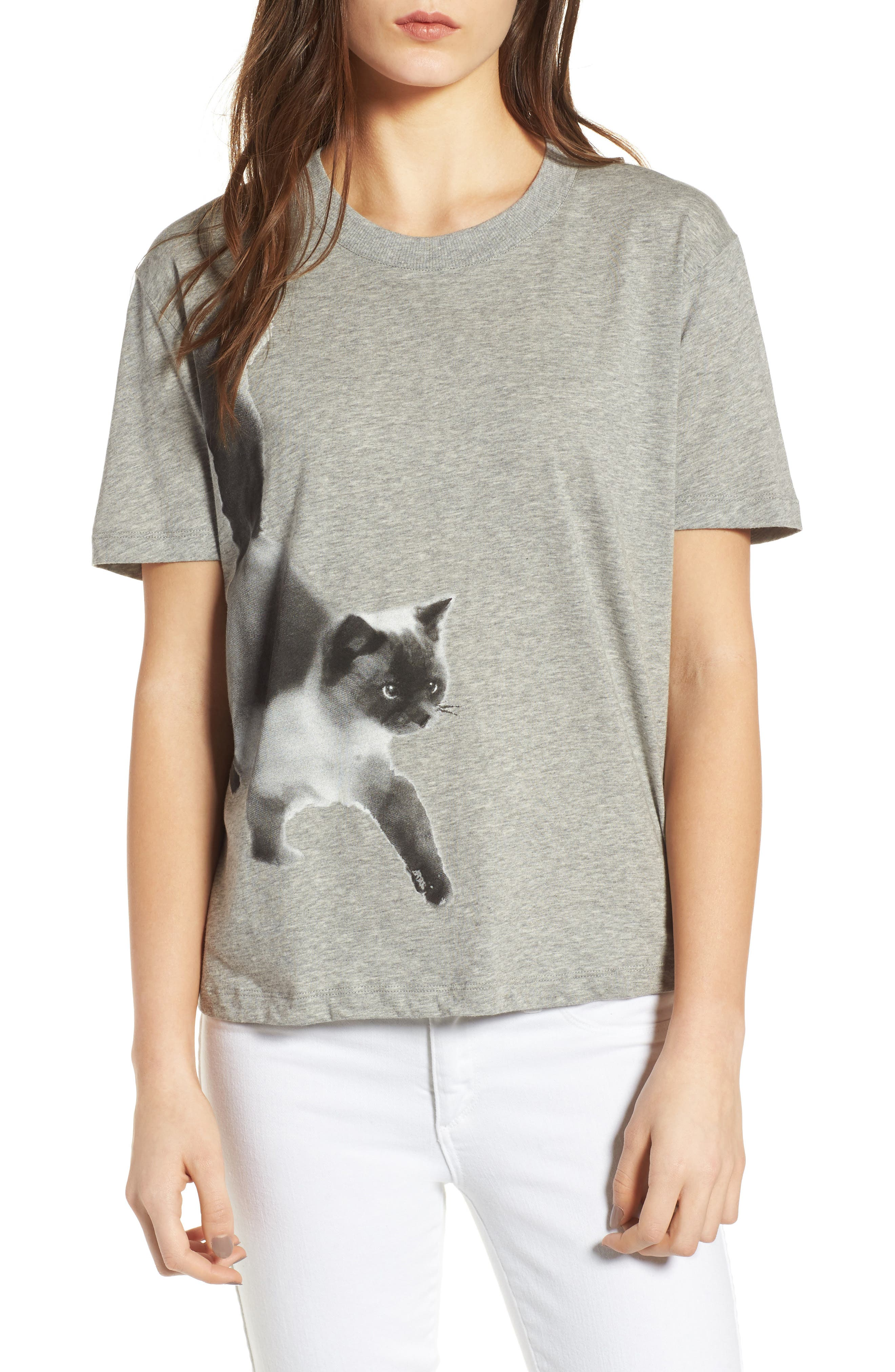 Cat Print Graphic Tee,                             Main thumbnail 1, color,