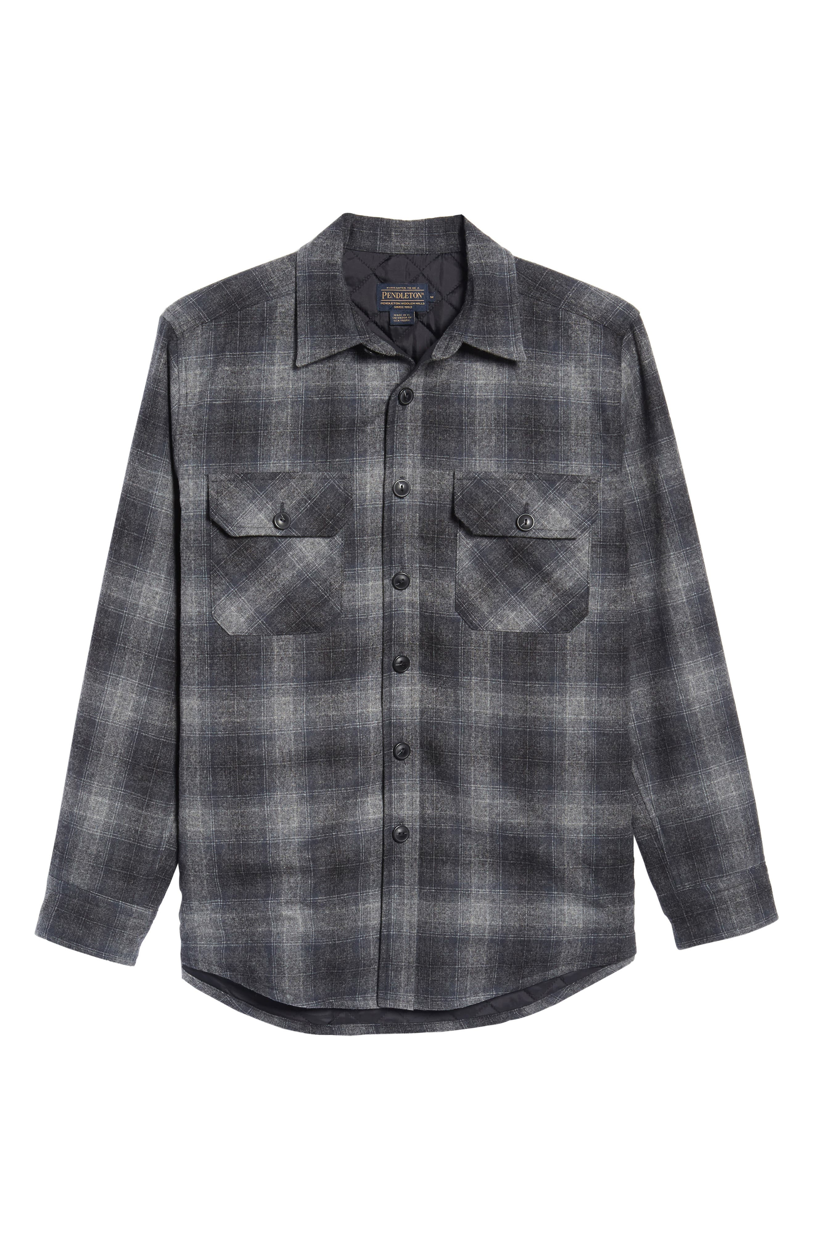 Quilted Wool Shirt Jacket,                             Alternate thumbnail 5, color,                             020