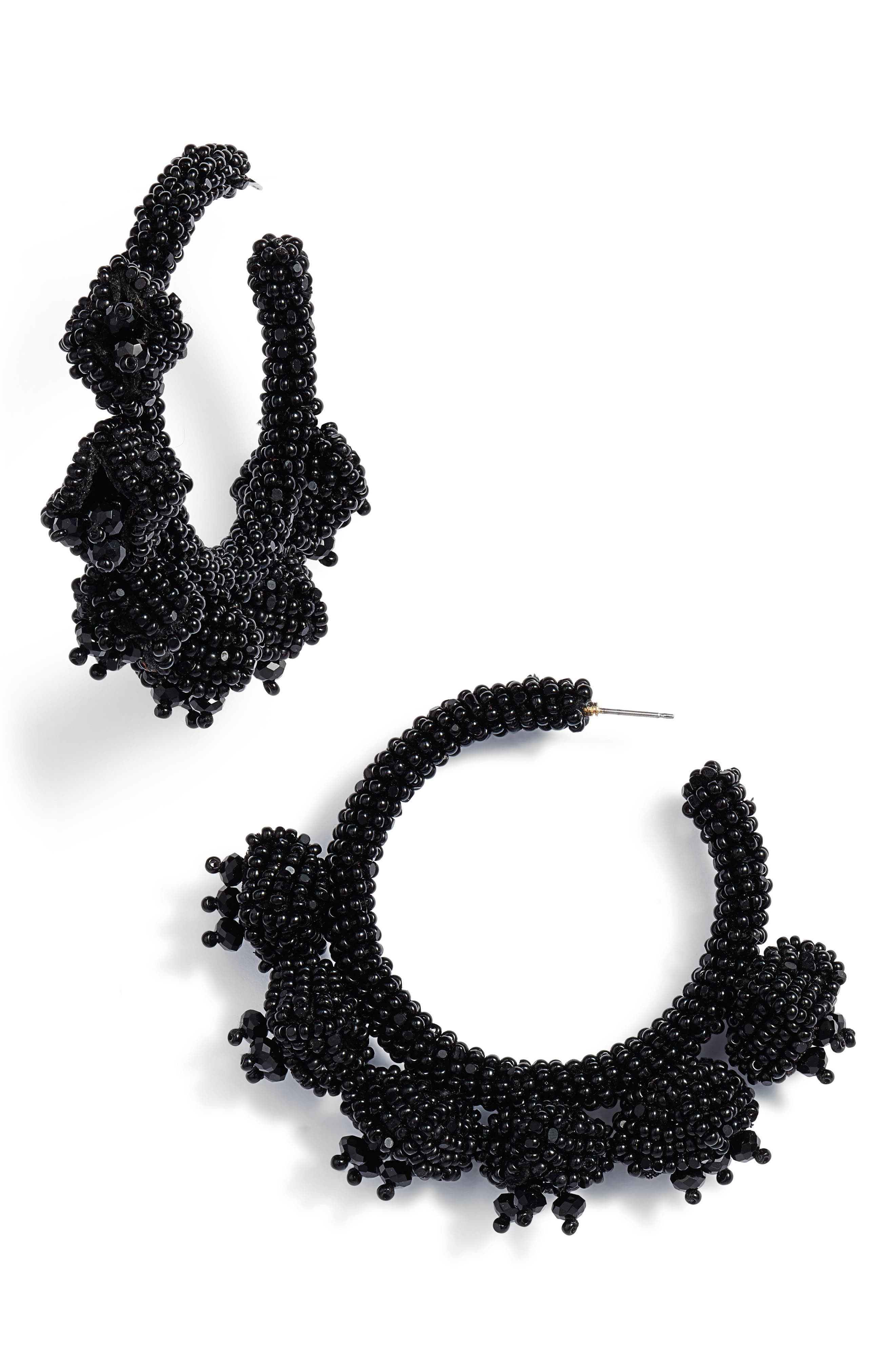 Noir Grape Cluster Hoop Earrings,                             Main thumbnail 1, color,                             JET