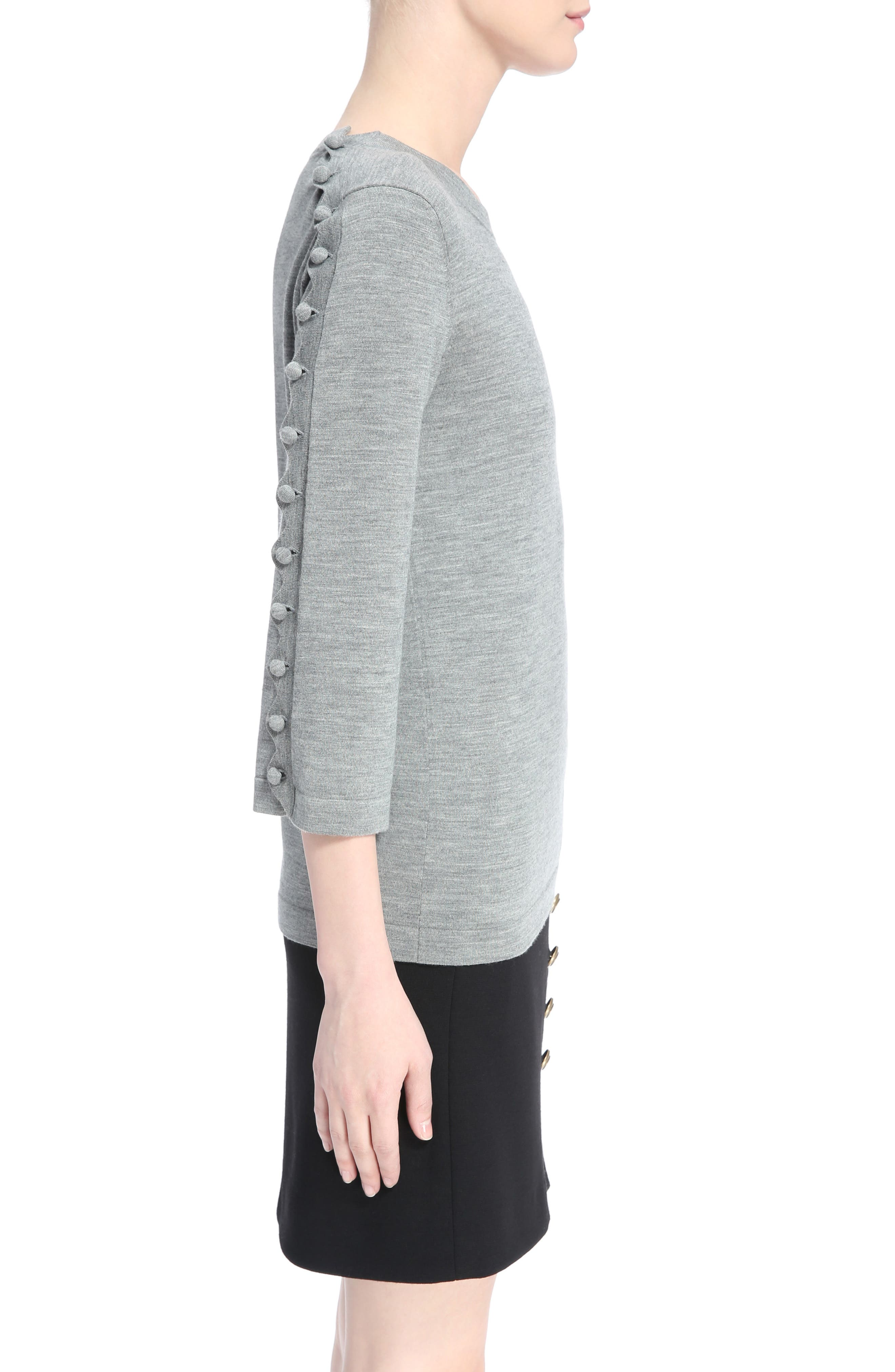 Button Shoulder Wool Sweater,                             Alternate thumbnail 3, color,                             030