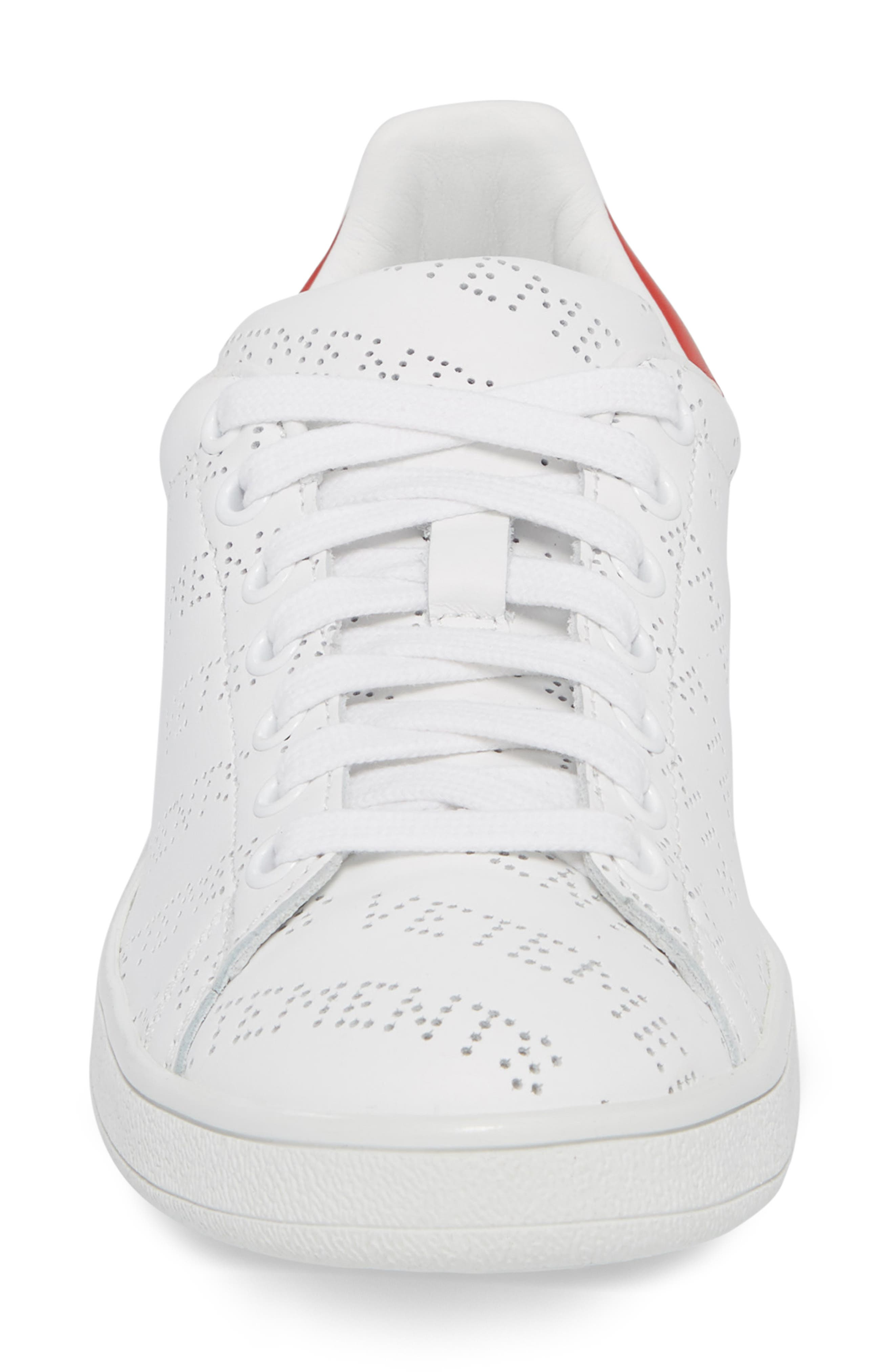 Perforated Sneaker,                             Alternate thumbnail 4, color,                             WHITE RED