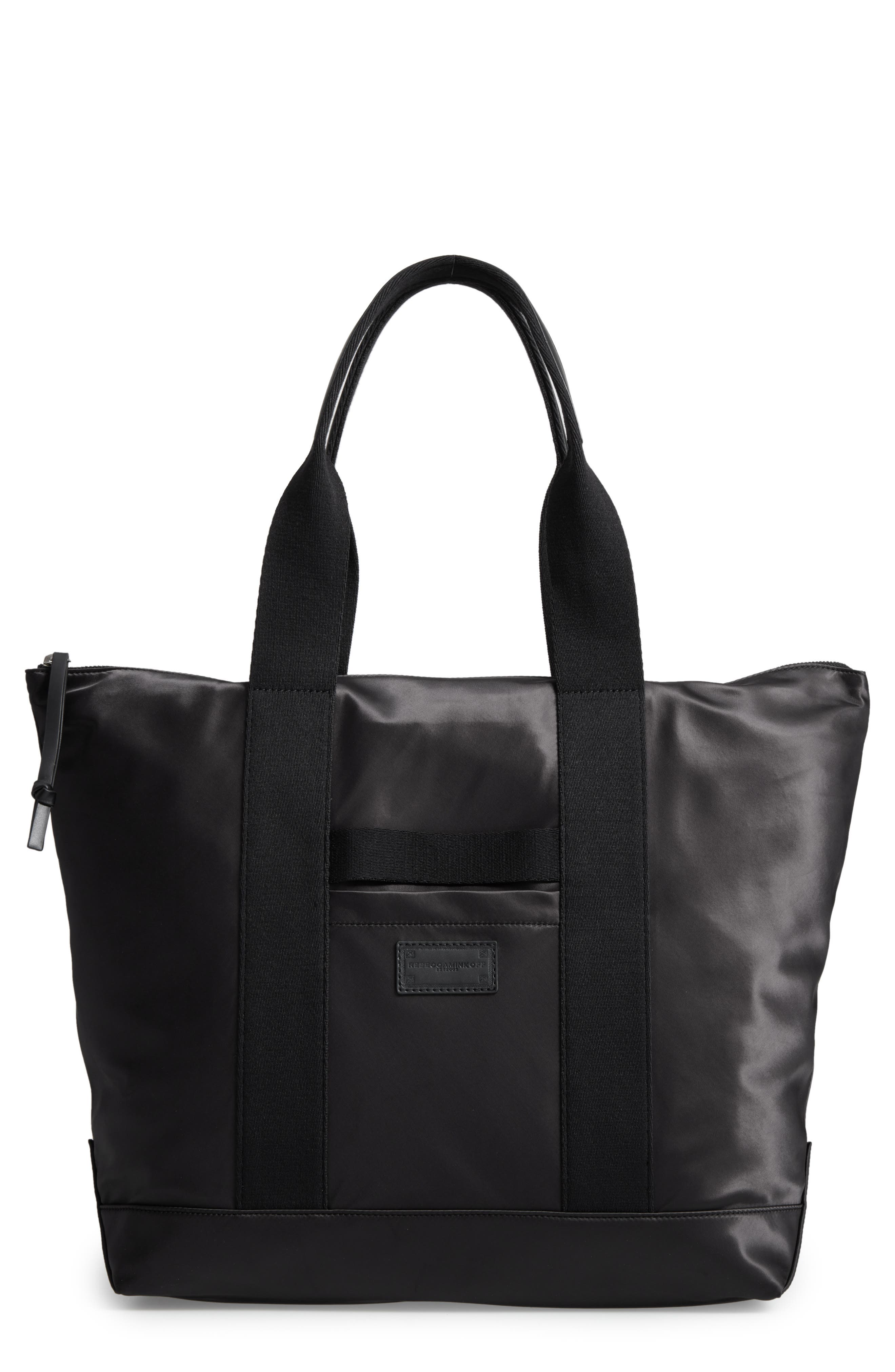 Satin Nylon Tote,                             Main thumbnail 1, color,                             001
