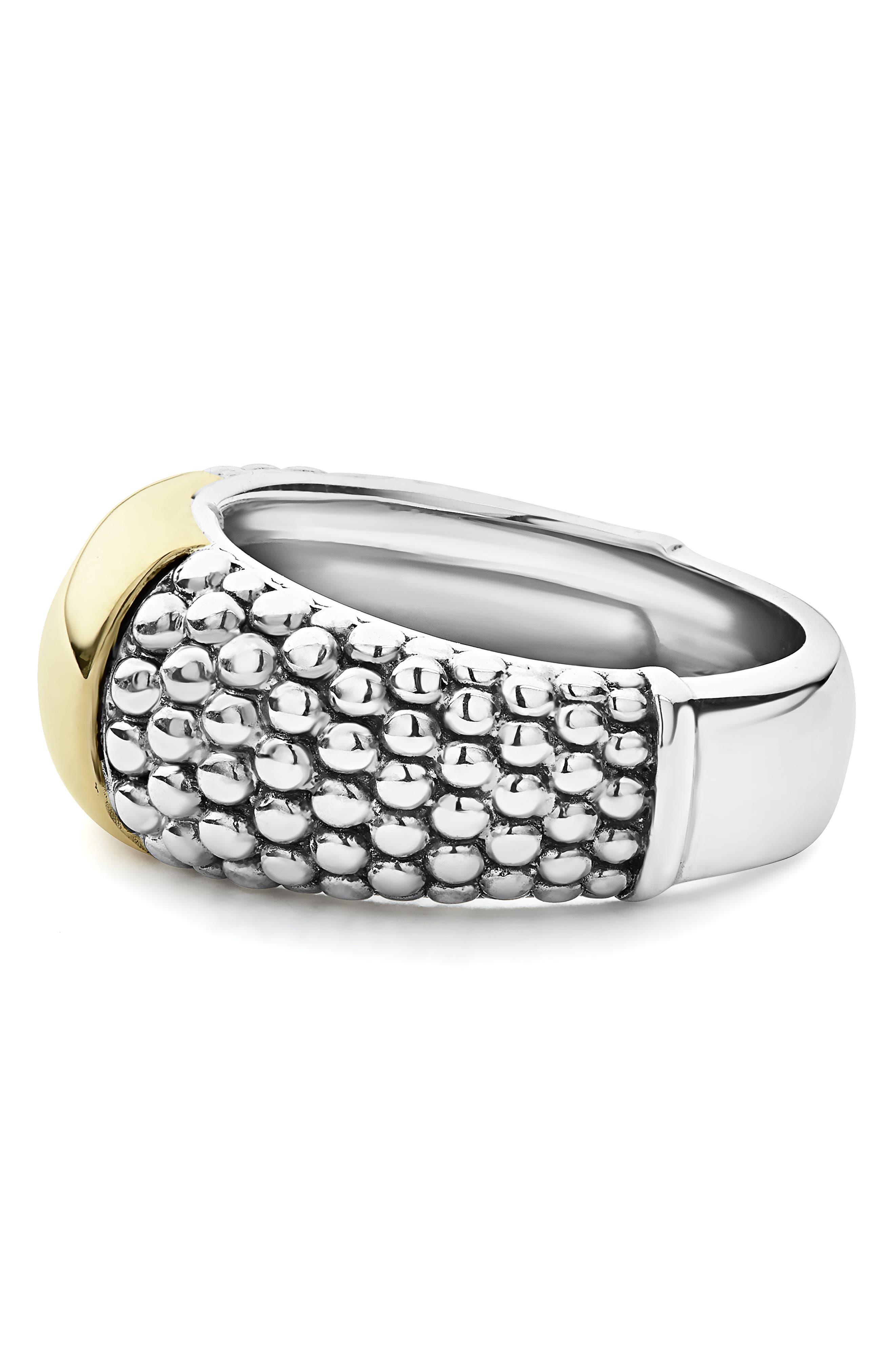 Signature Caviar High Bar Ring,                             Alternate thumbnail 3, color,                             SILVER/ GOLD
