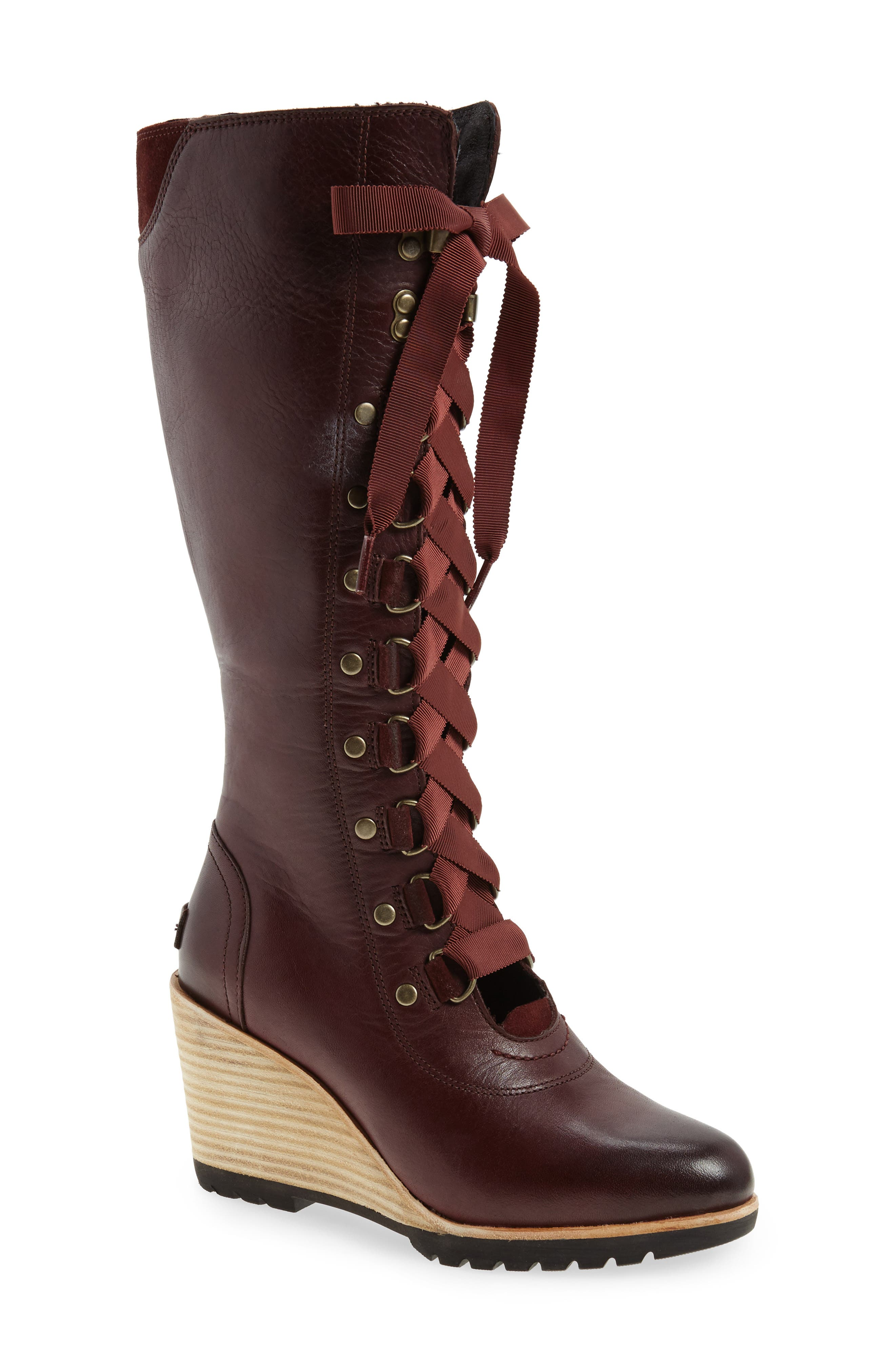 After Hours Lace Up Wedge Boot,                             Main thumbnail 2, color,
