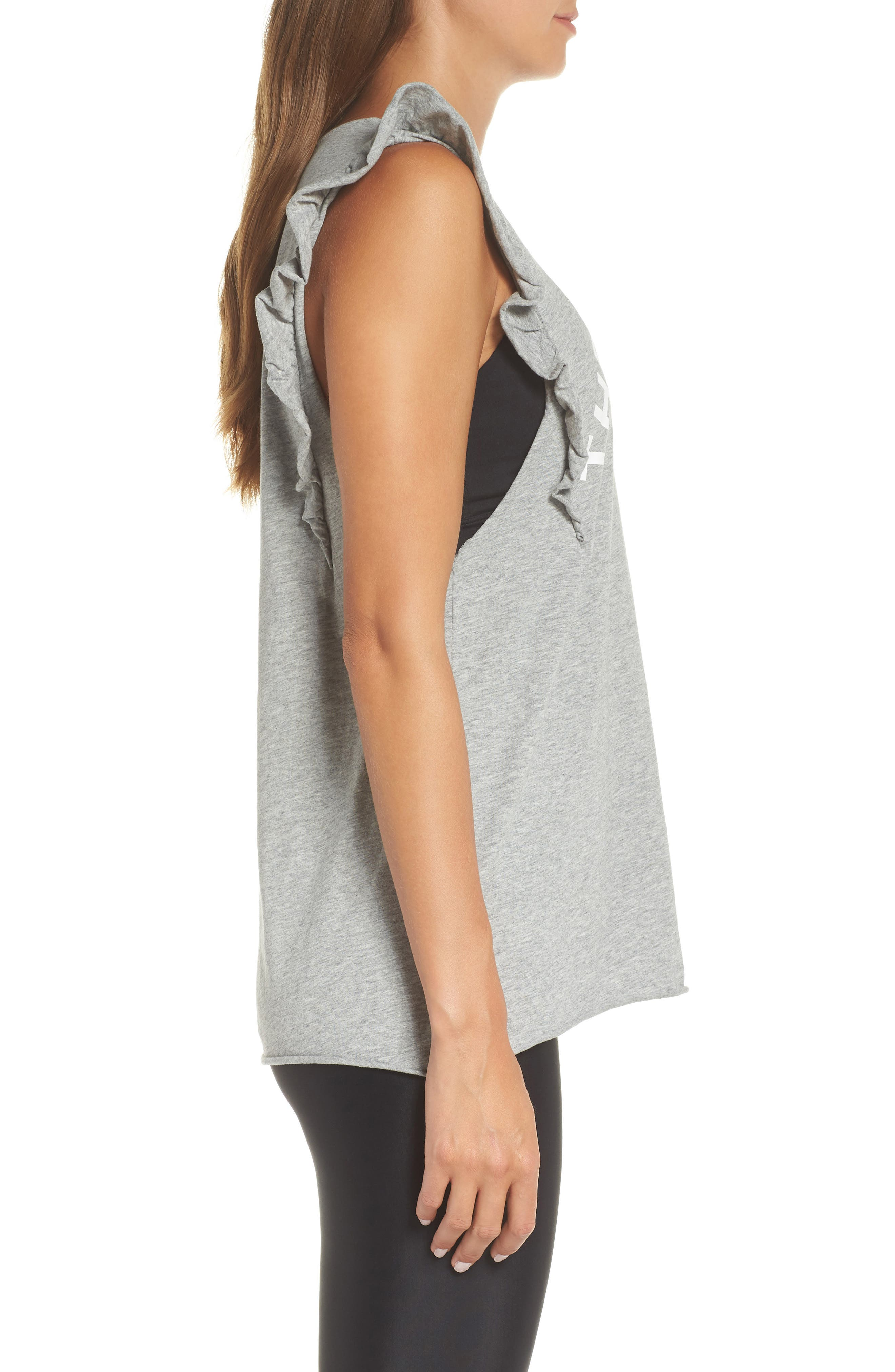 Frill Muscle Tank,                             Alternate thumbnail 3, color,                             GREY MARLE