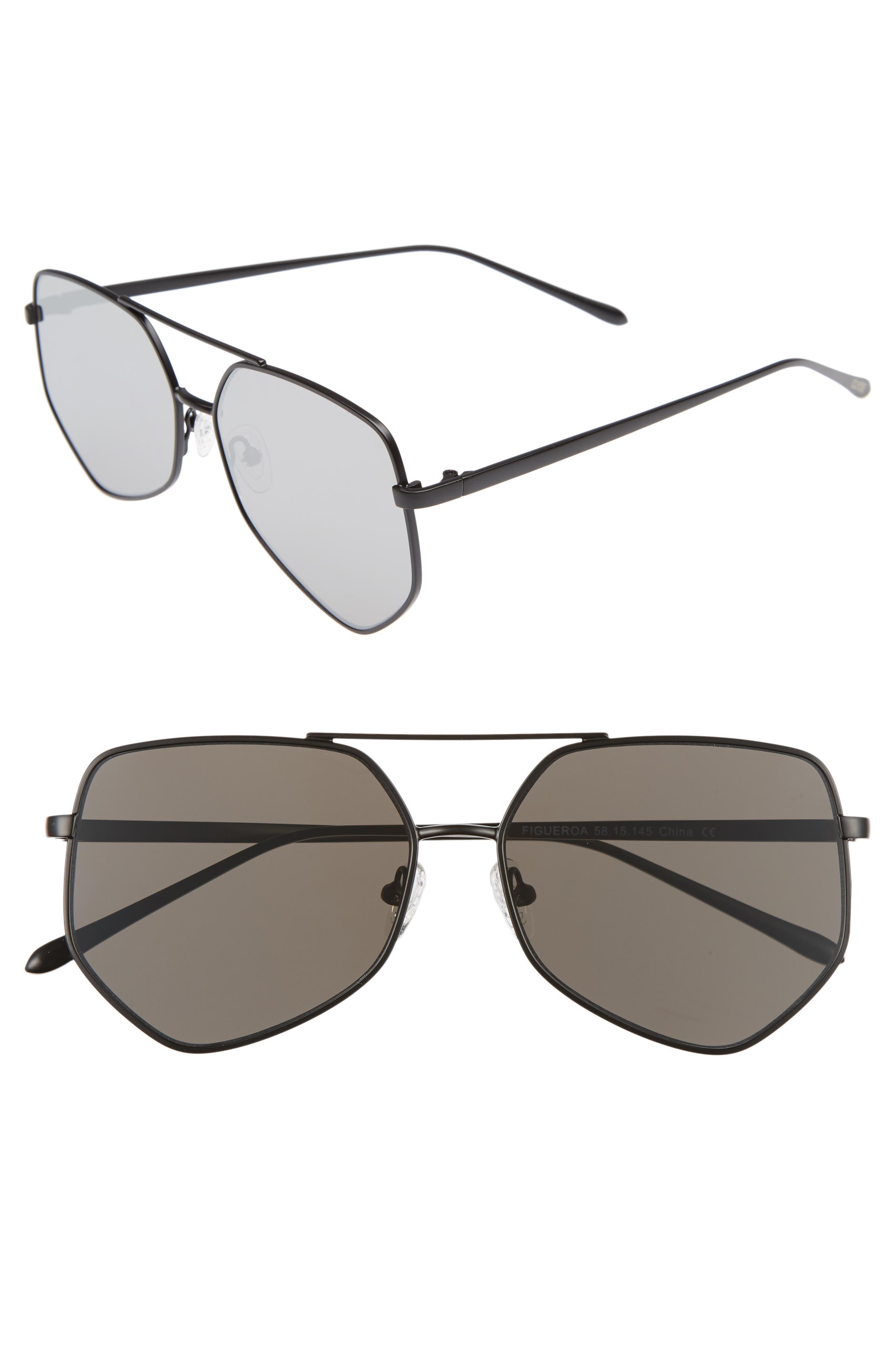 Figueroa 58mm Sunglasses,                         Main,                         color, GRAVITY BLACK