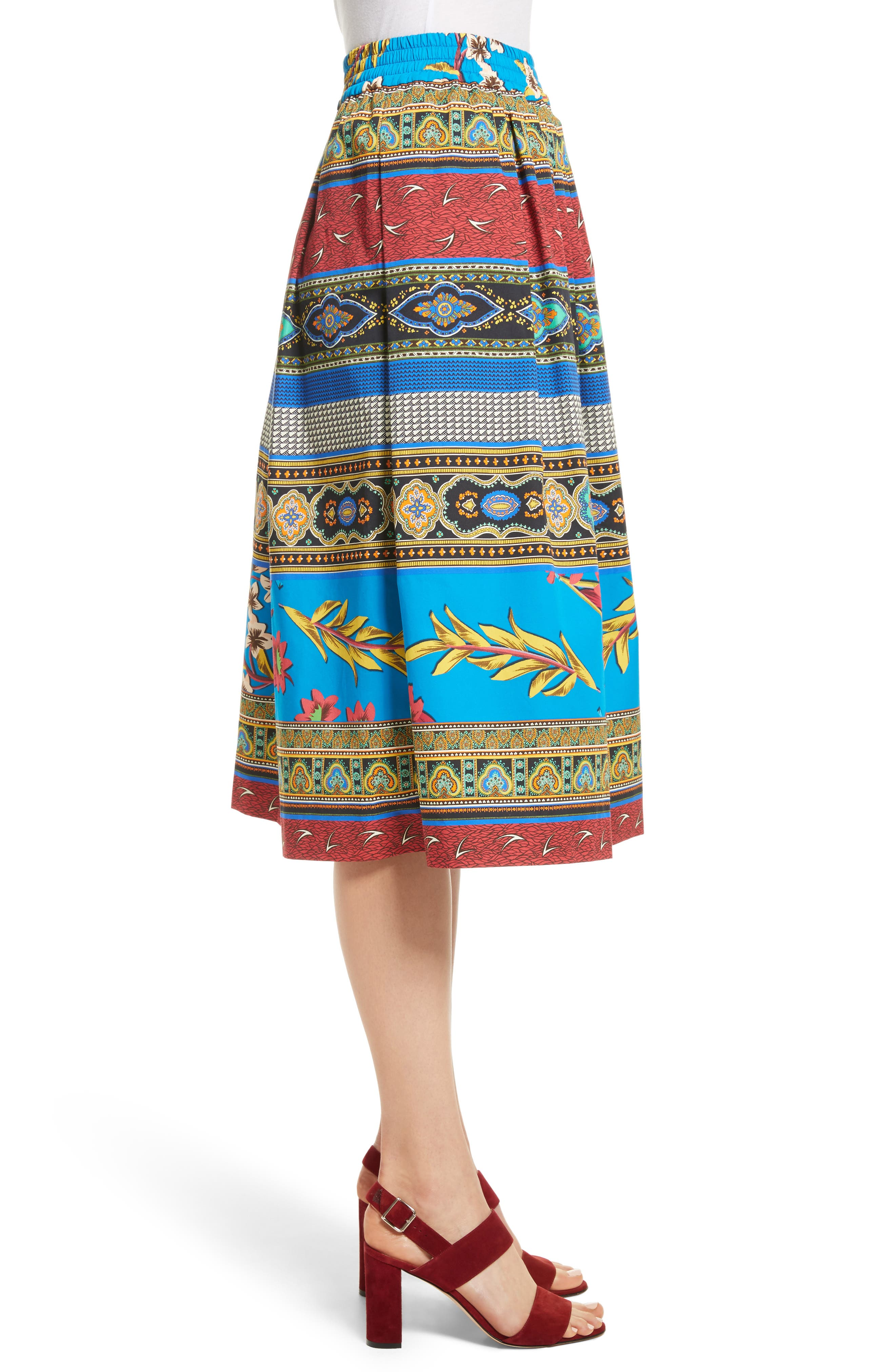 Floral Geo Print Cotton Skirt,                             Alternate thumbnail 3, color,                             410