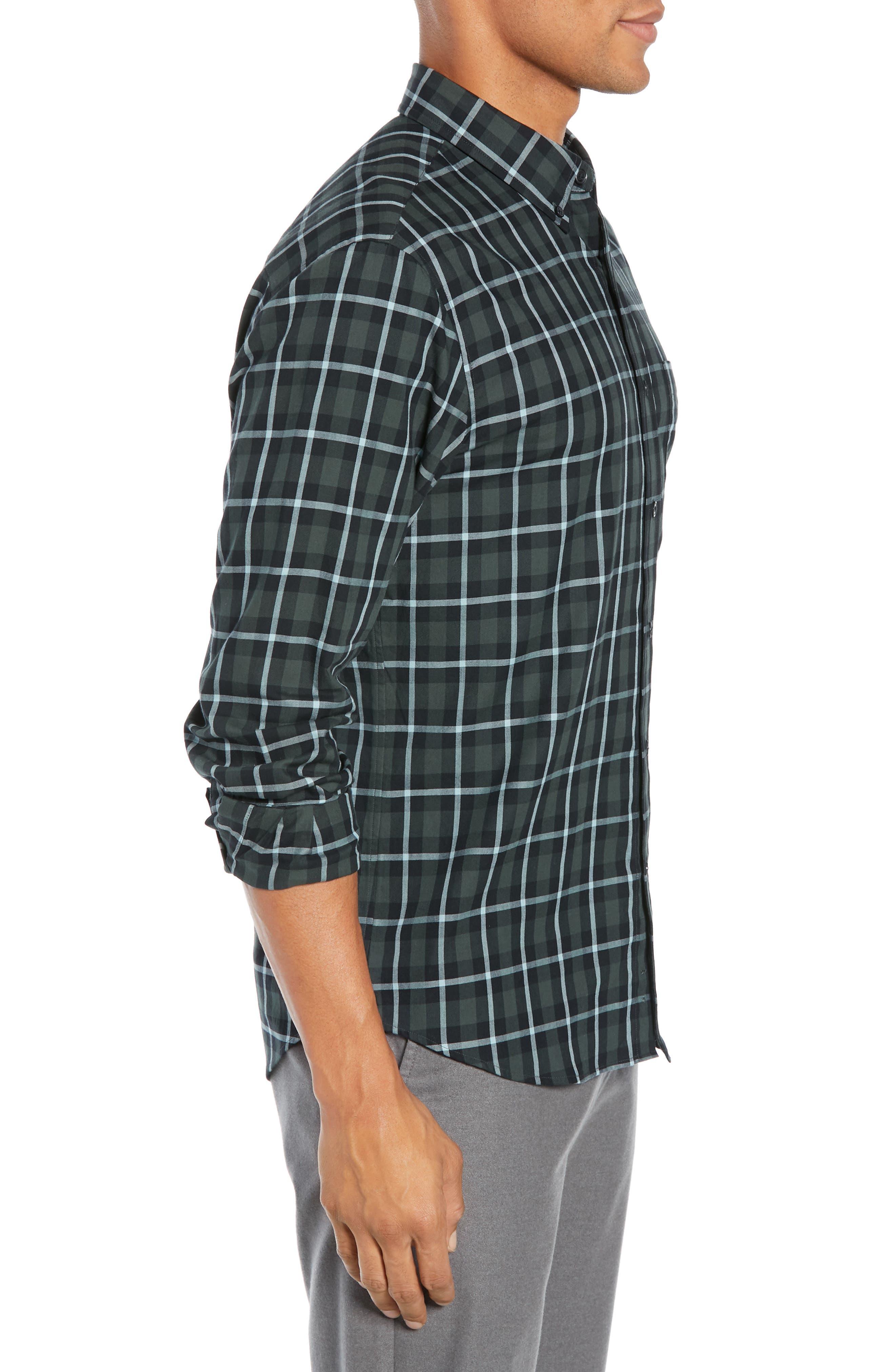 Trim Fit Plaid Sport Shirt,                             Alternate thumbnail 4, color,                             NAVY MULTI