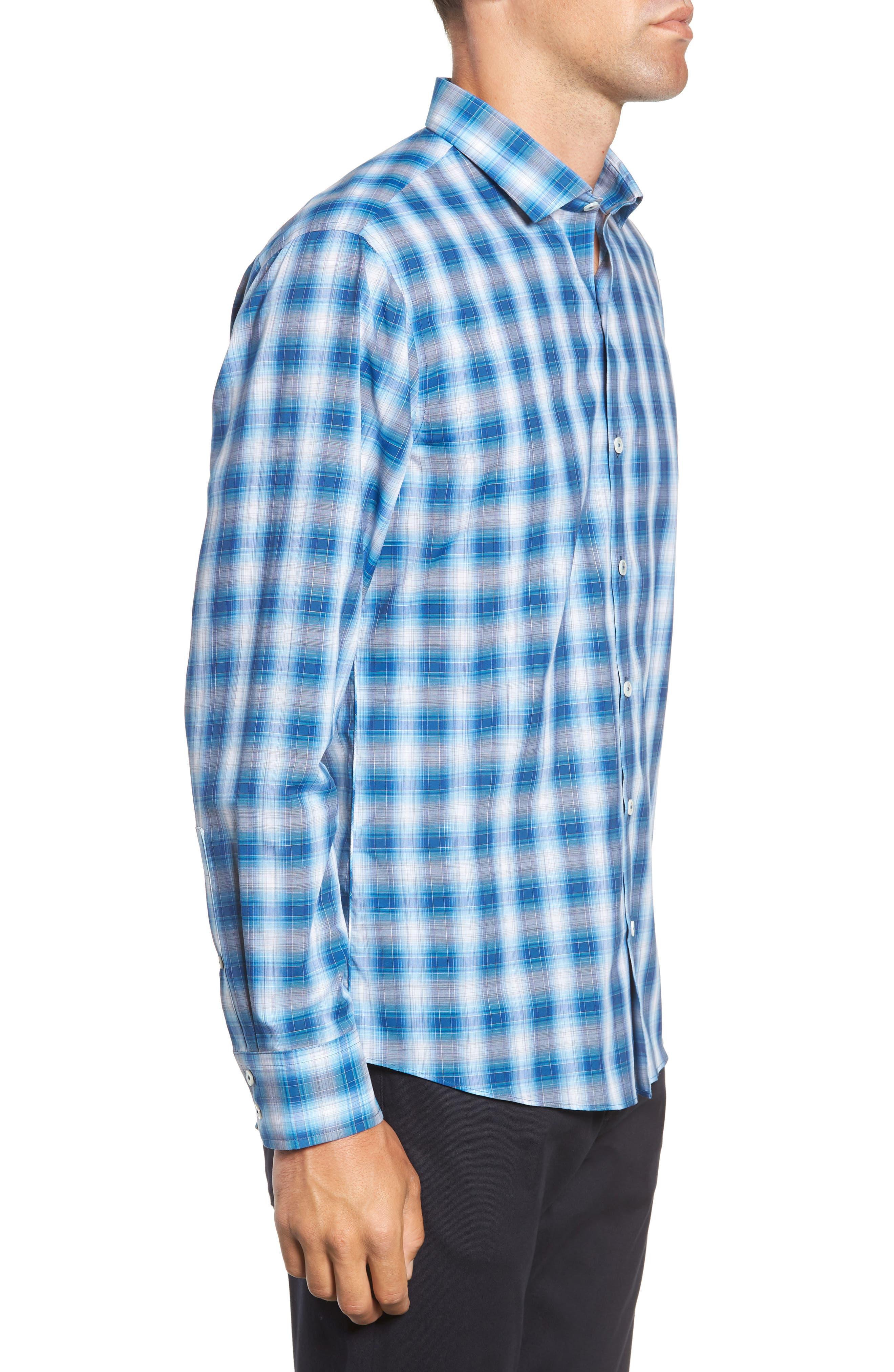 Holtsinger Plaid Sport Shirt,                             Alternate thumbnail 4, color,                             BRIGHT BLUE