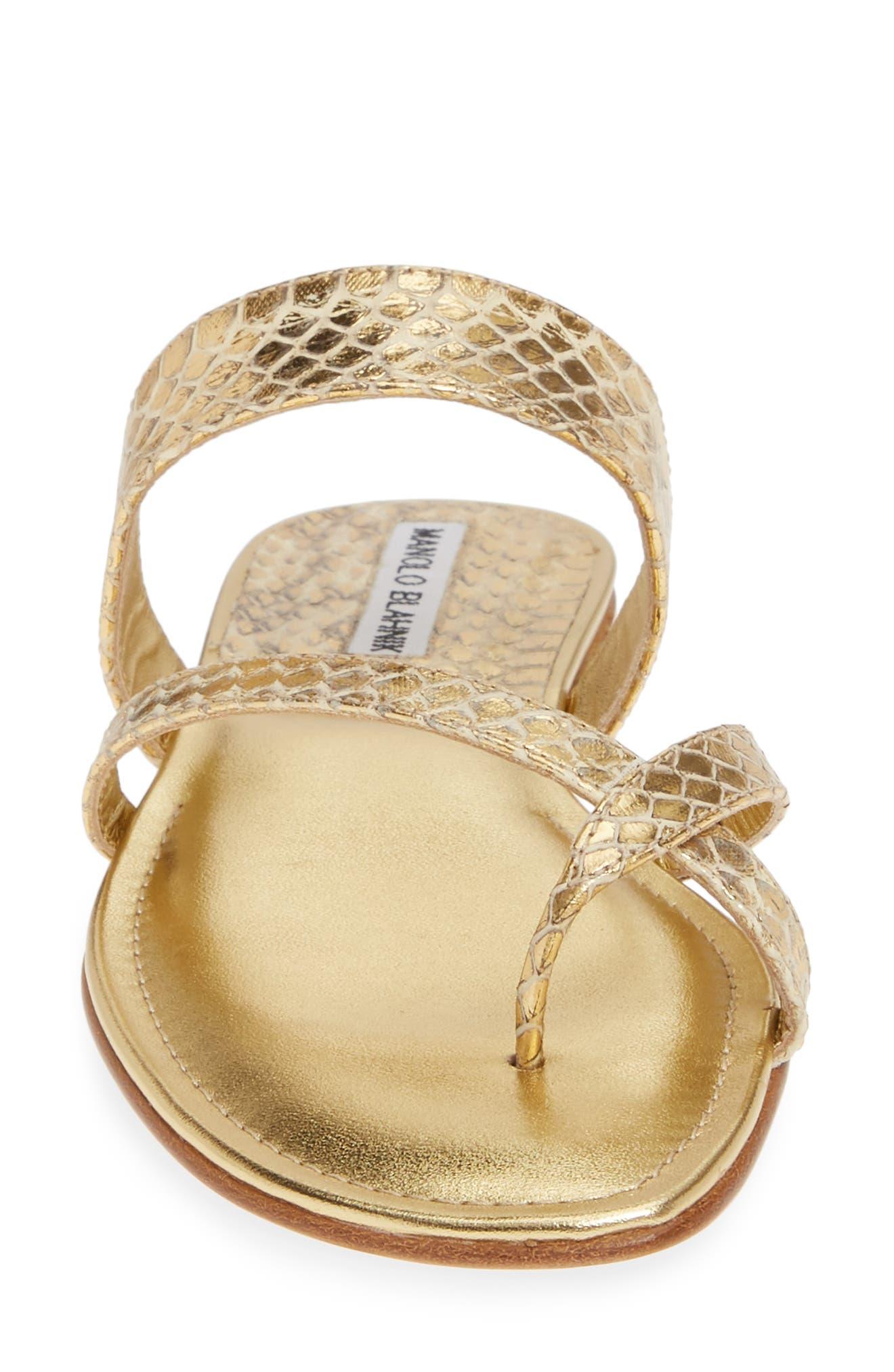 MANOLO BLAHNIK,                             'Susa' Genuine Snakeskin Sandal,                             Alternate thumbnail 4, color,                             GOLD WATERSNAKE