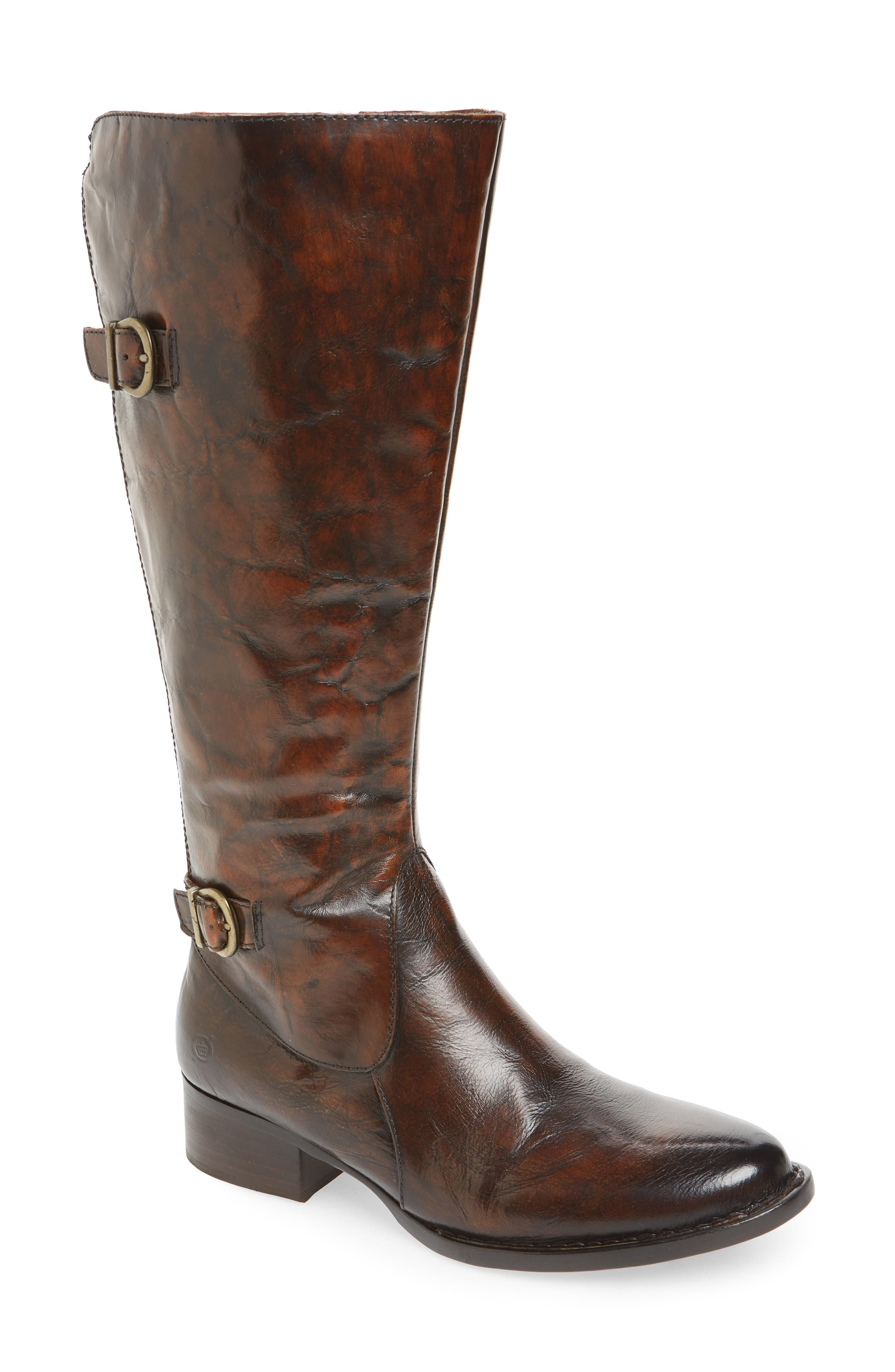 B?rn Gibb Knee High Riding Boot, Wide Calf- Brown