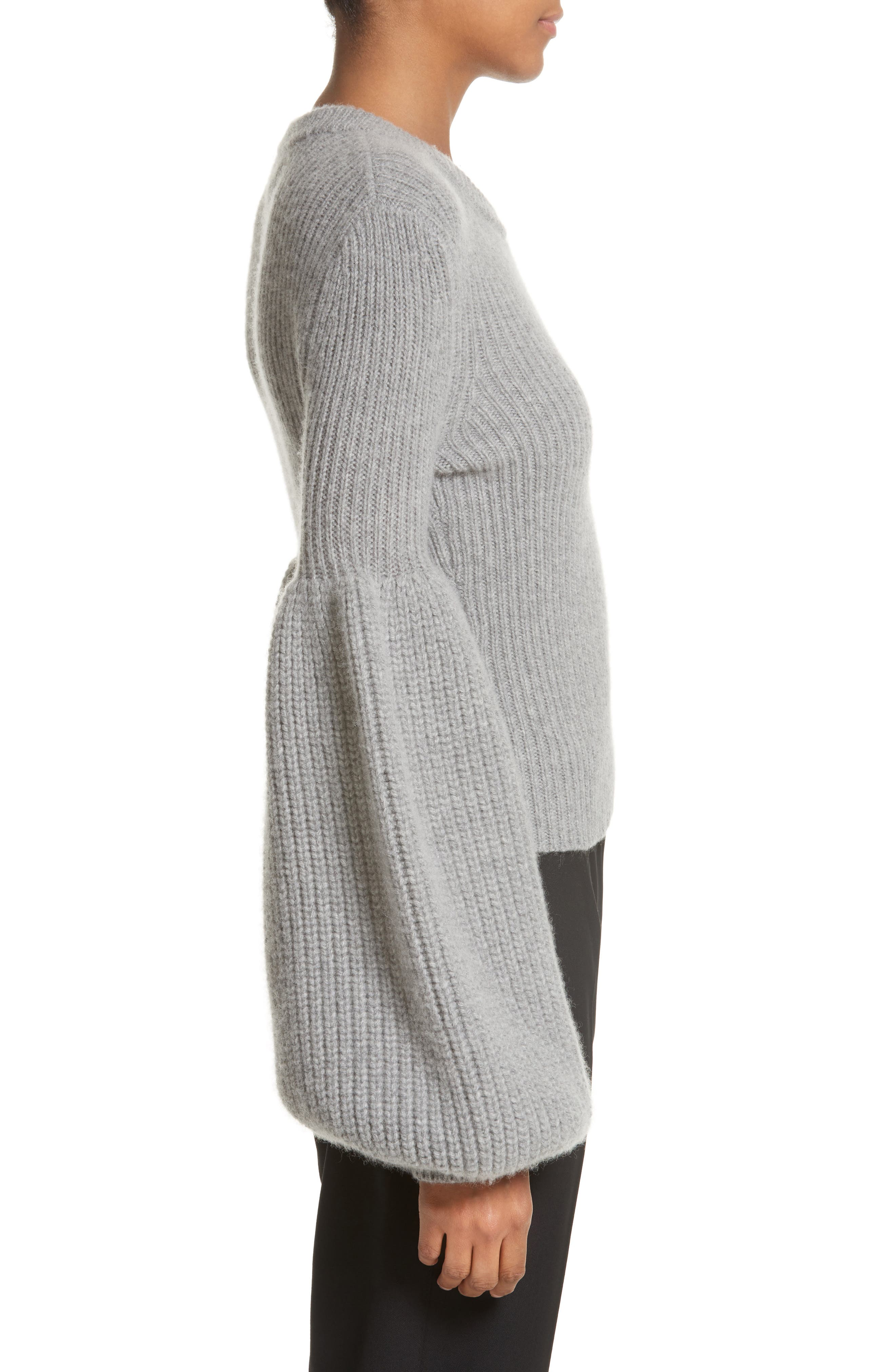 Puff Lantern Sleeve Wool & Cashmere Blend Sweater,                             Alternate thumbnail 3, color,                             020