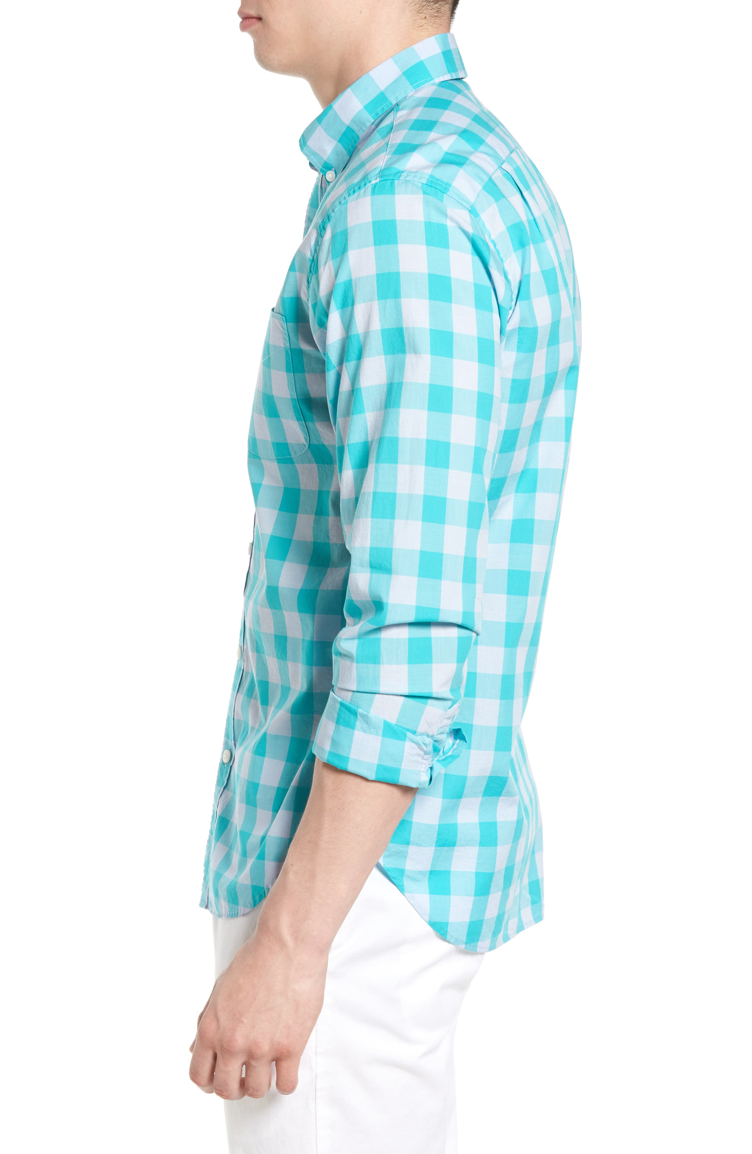 Slim Fit Summerweight Check Sport Shirt,                             Alternate thumbnail 3, color,                             400