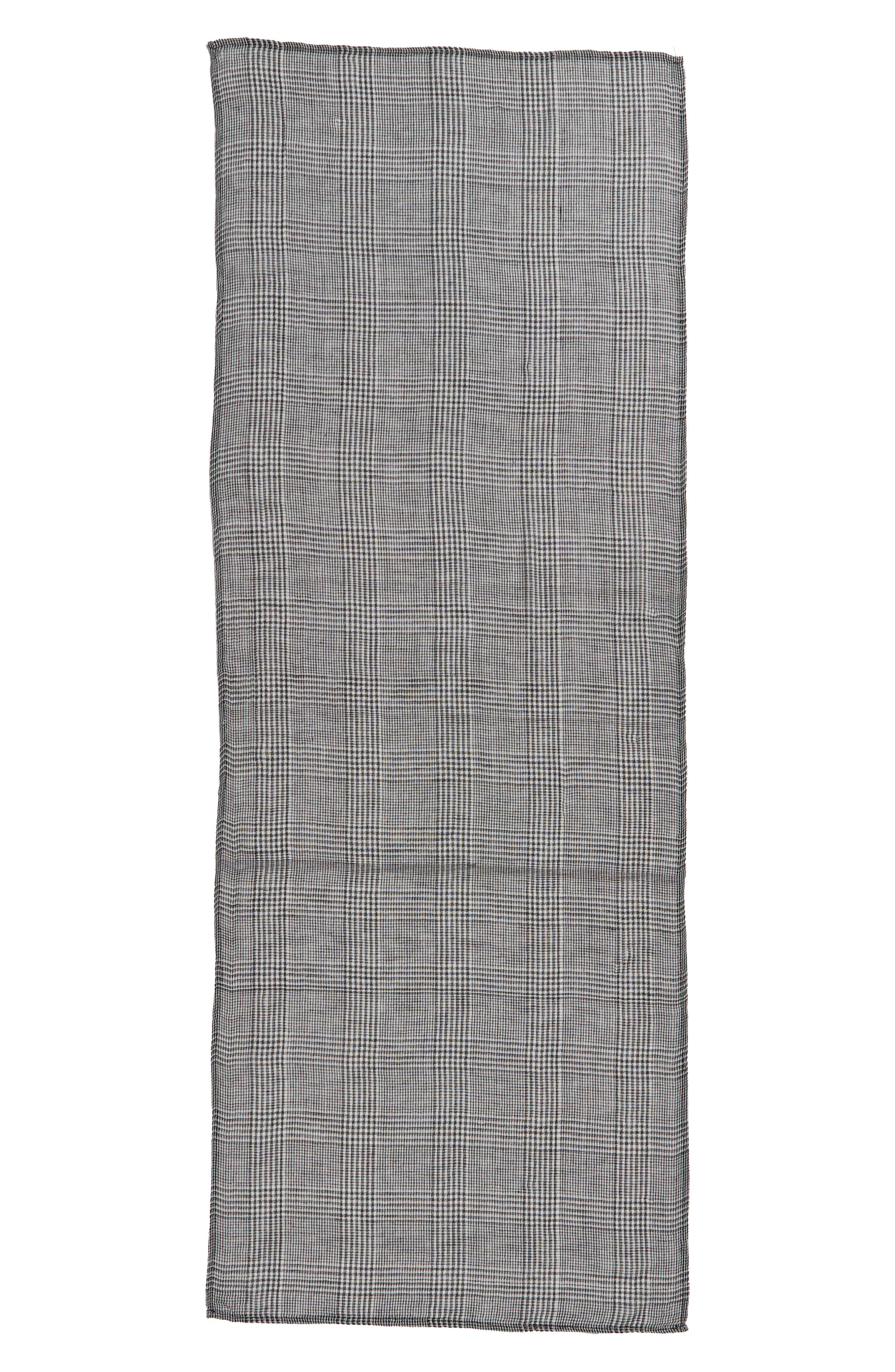 Menswear Plaid Oblong Scarf,                             Alternate thumbnail 3, color,                             GREY MULTI