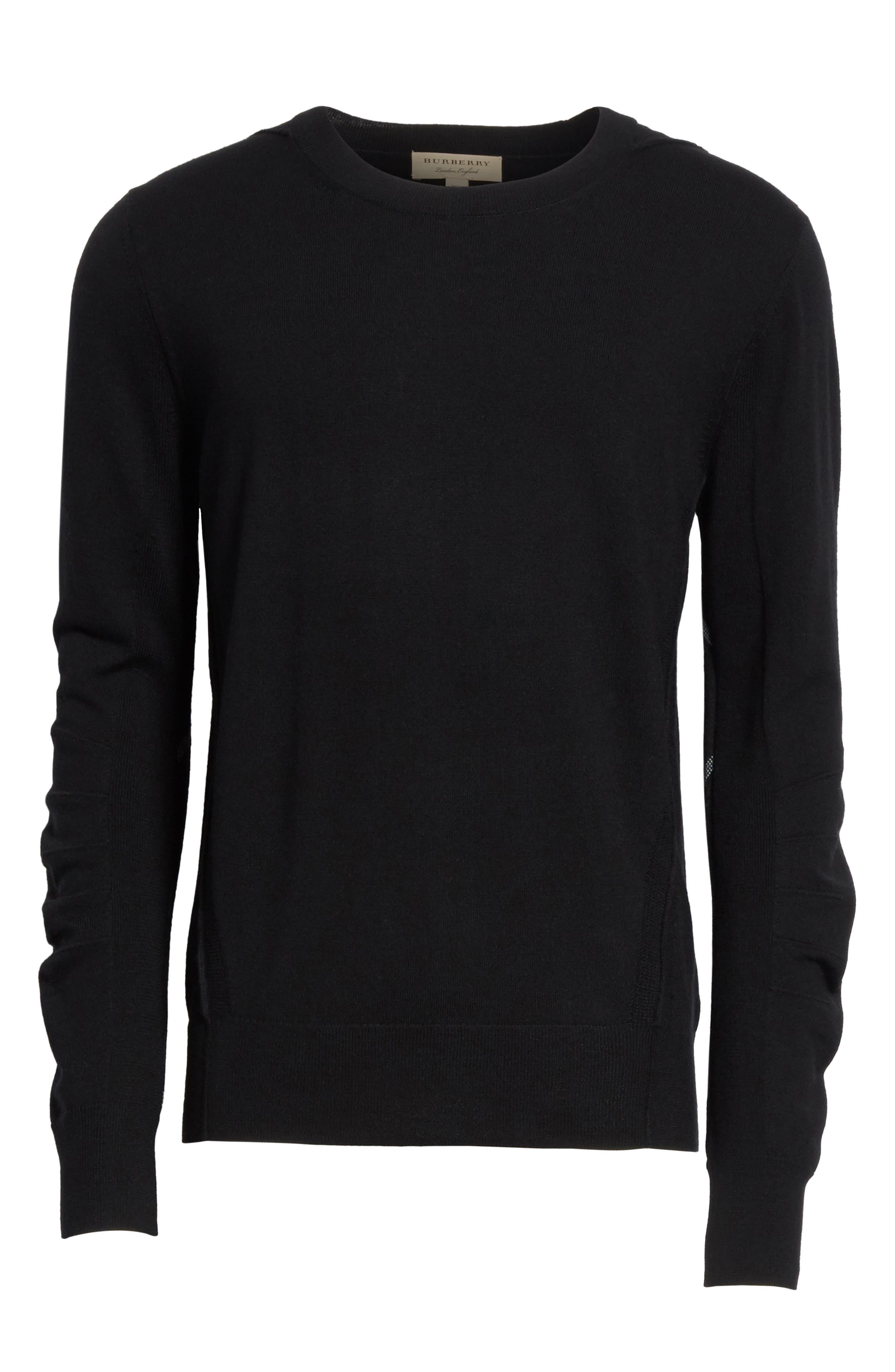 Carter Merino Wool Crewneck Sweater,                             Alternate thumbnail 6, color,                             BLACK