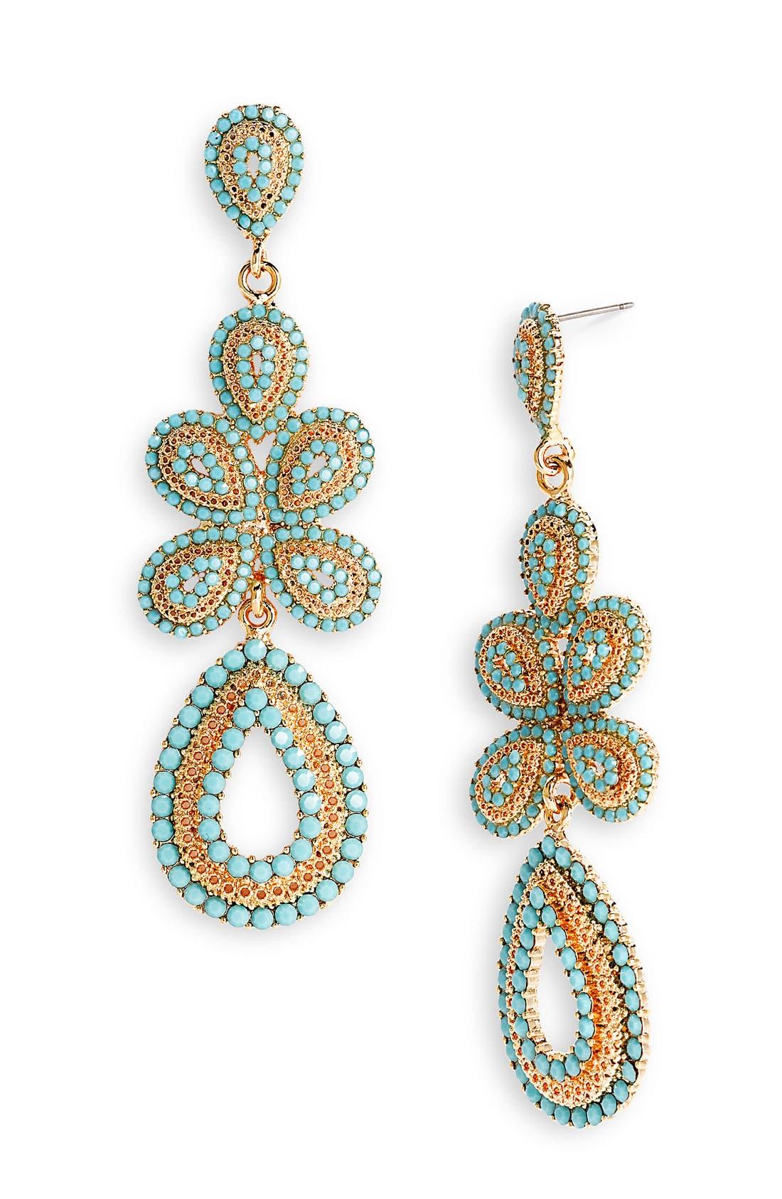 'Ornate' Linear Statement Earrings,                             Main thumbnail 9, color,