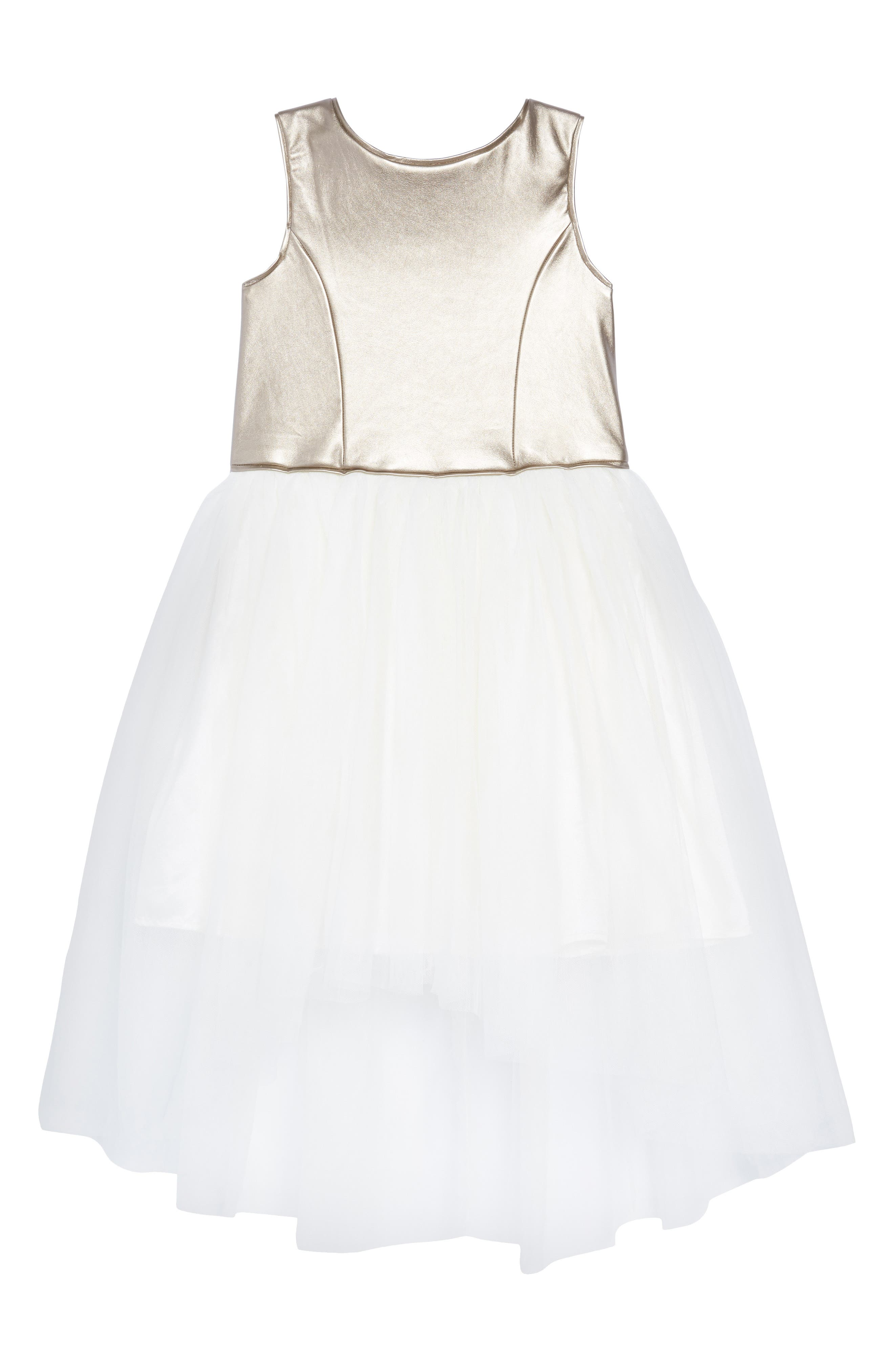 Metallic High/Low Tulle Dress,                             Main thumbnail 1, color,                             GOLD/ IVORY