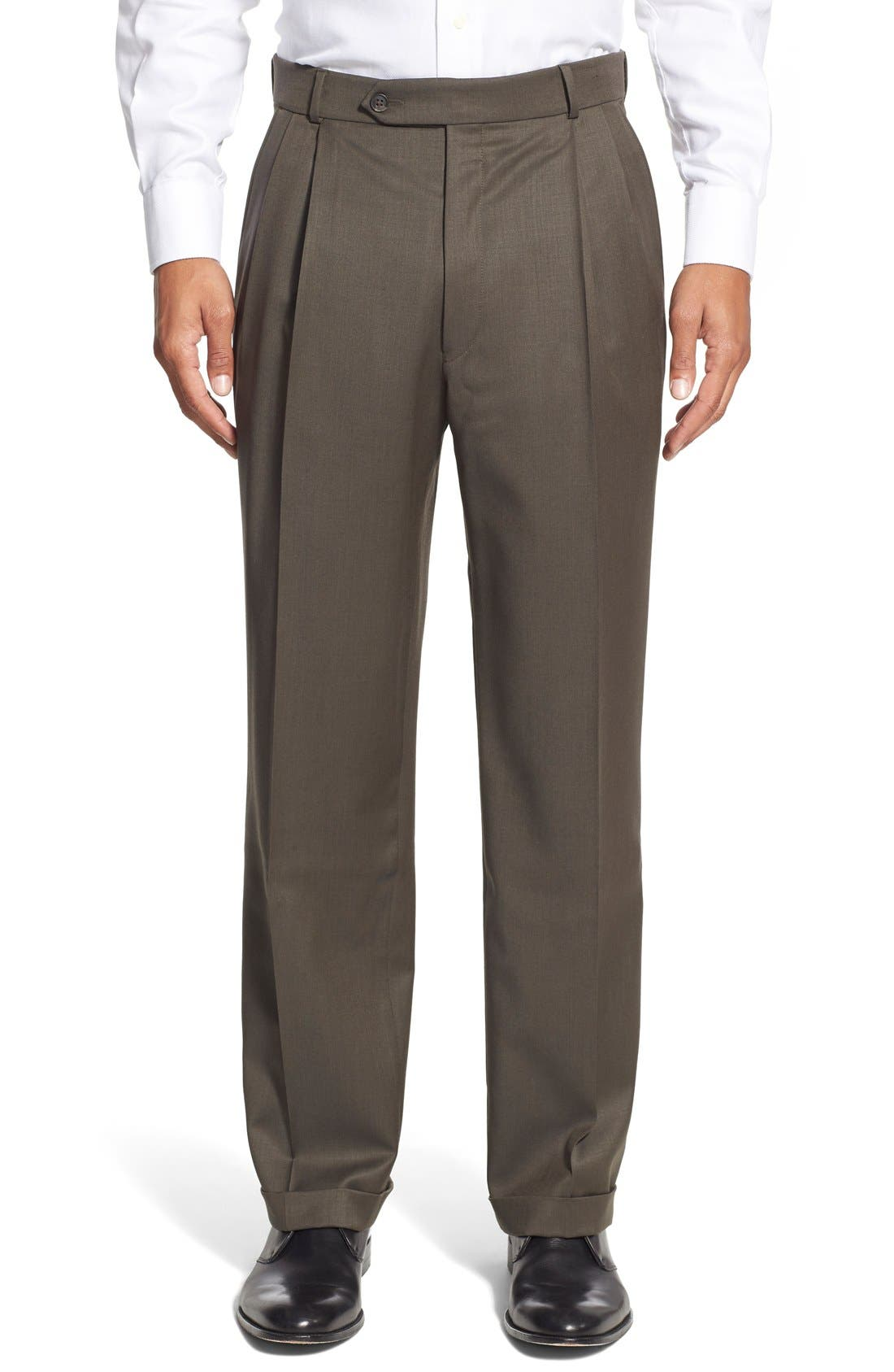 Pleated Solid Wool Trousers,                             Main thumbnail 11, color,