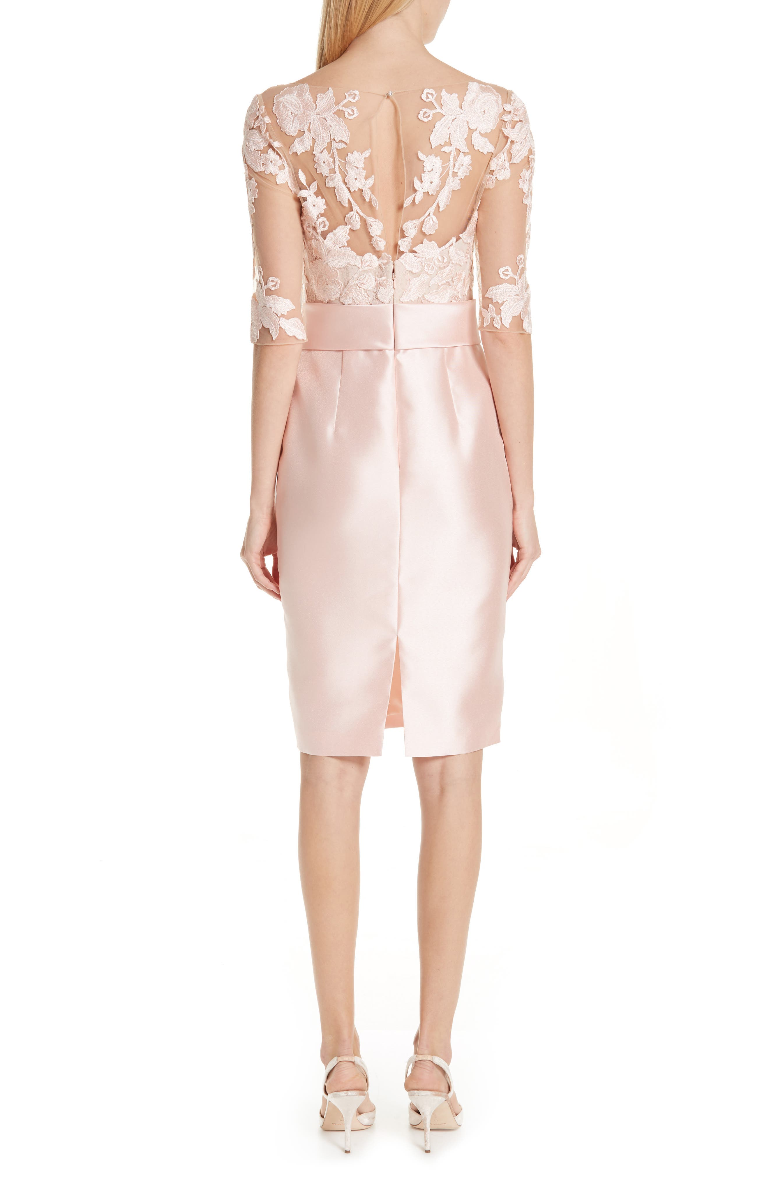 BADGLEY MISCHKA COLLECTION,                             Badgley Mischka Lace Accent Bow Cocktail Dress,                             Alternate thumbnail 2, color,                             PETAL