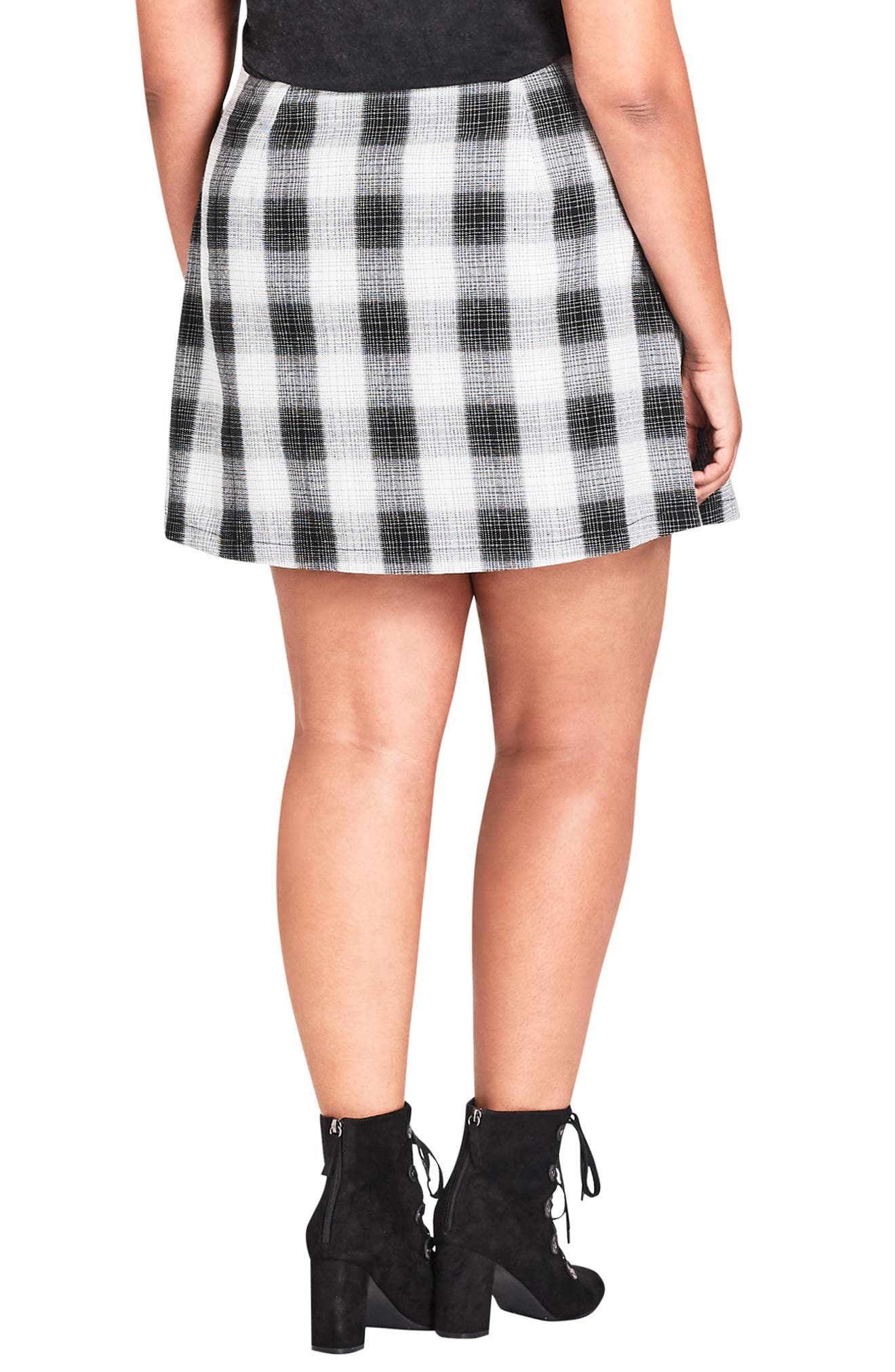 London Check A-Line Skirt,                             Alternate thumbnail 2, color,                             CHECK