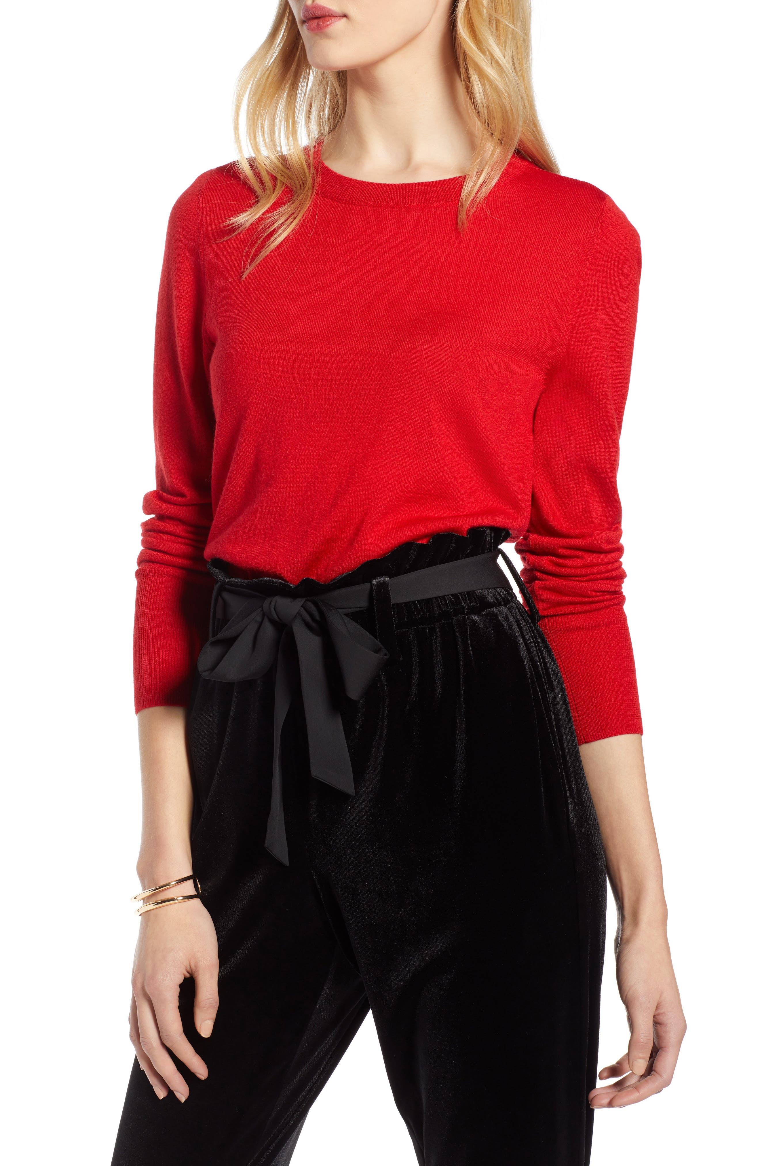 Petite Halogen Merino Wool Blend Sweater, Red