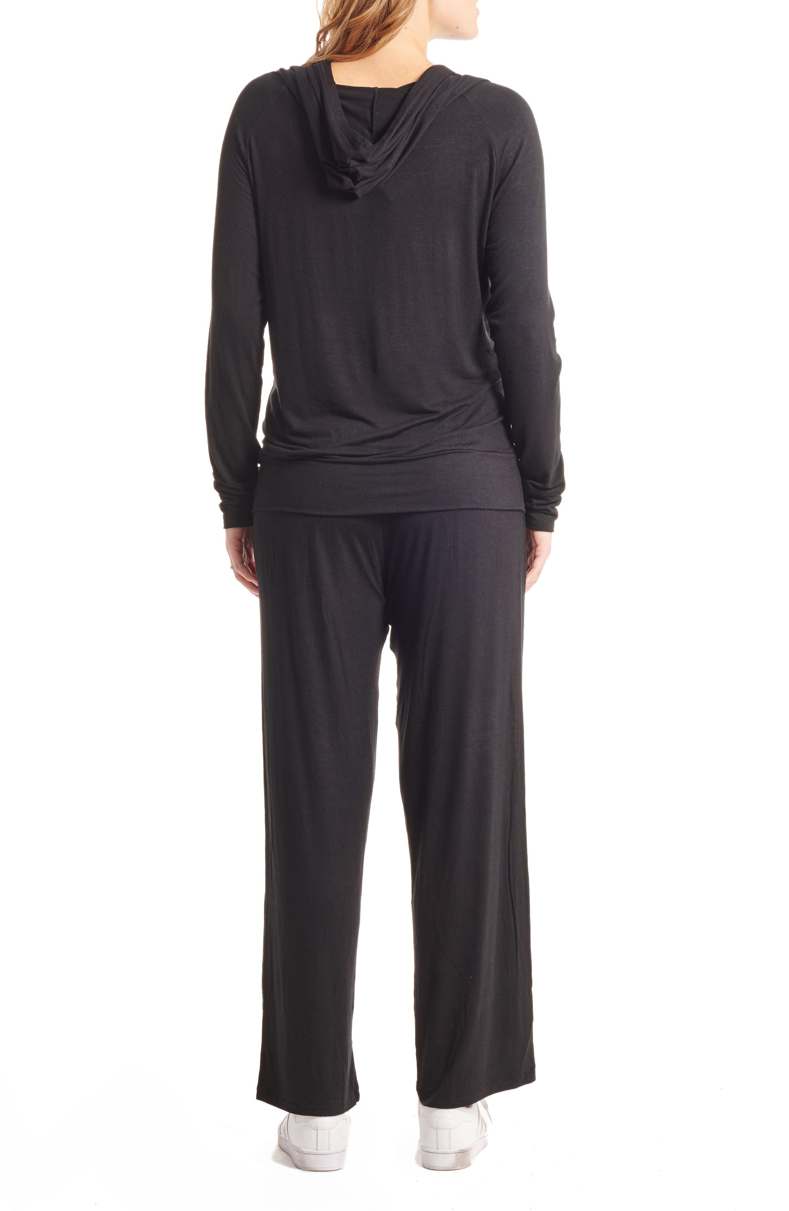 Irene Maternity/Nursing Hoodie & Pants Set,                             Alternate thumbnail 2, color,                             BLACK