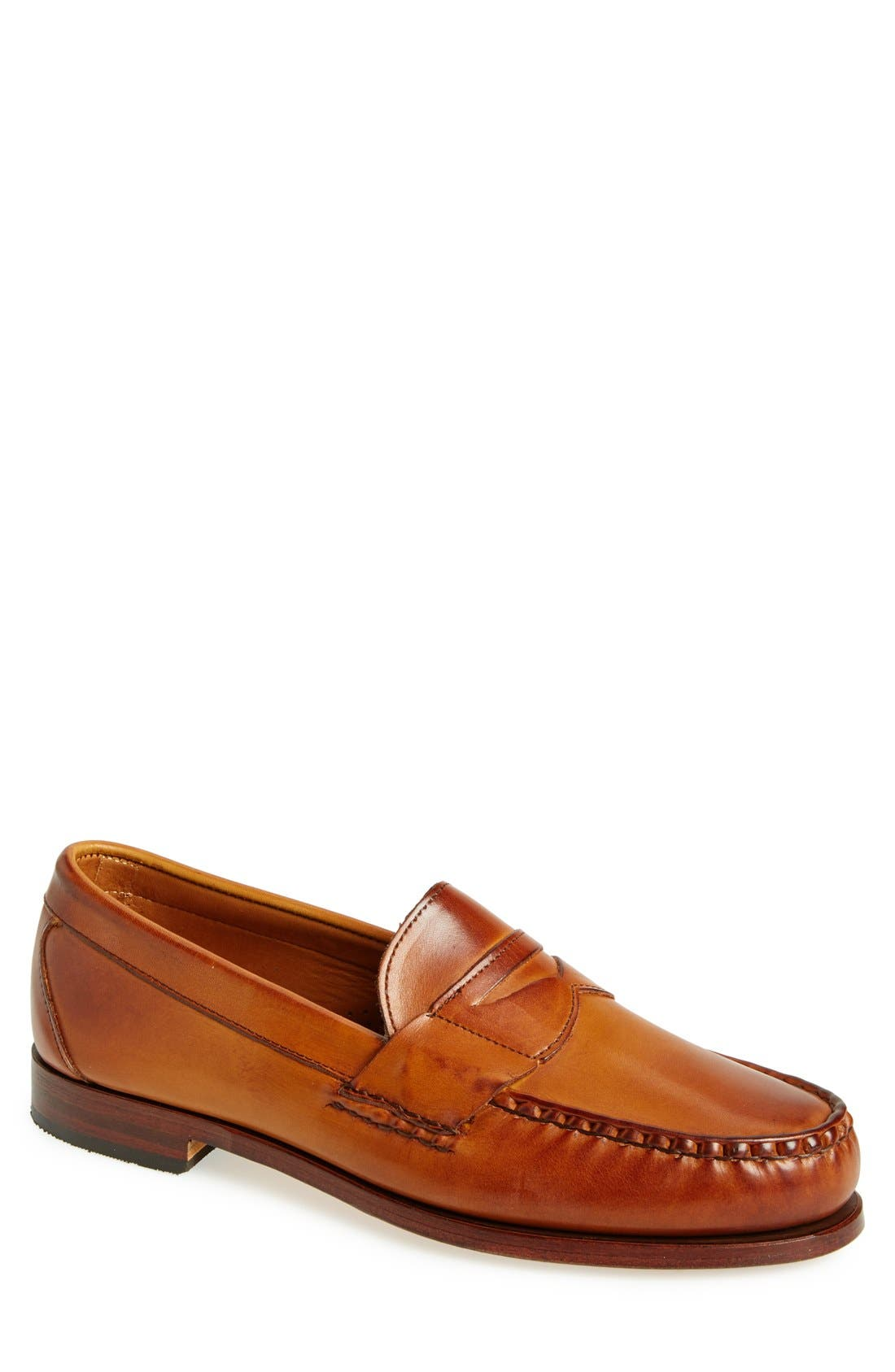 'Cavanaugh' Penny Loafer,                             Main thumbnail 1, color,                             WALNUT LEATHER