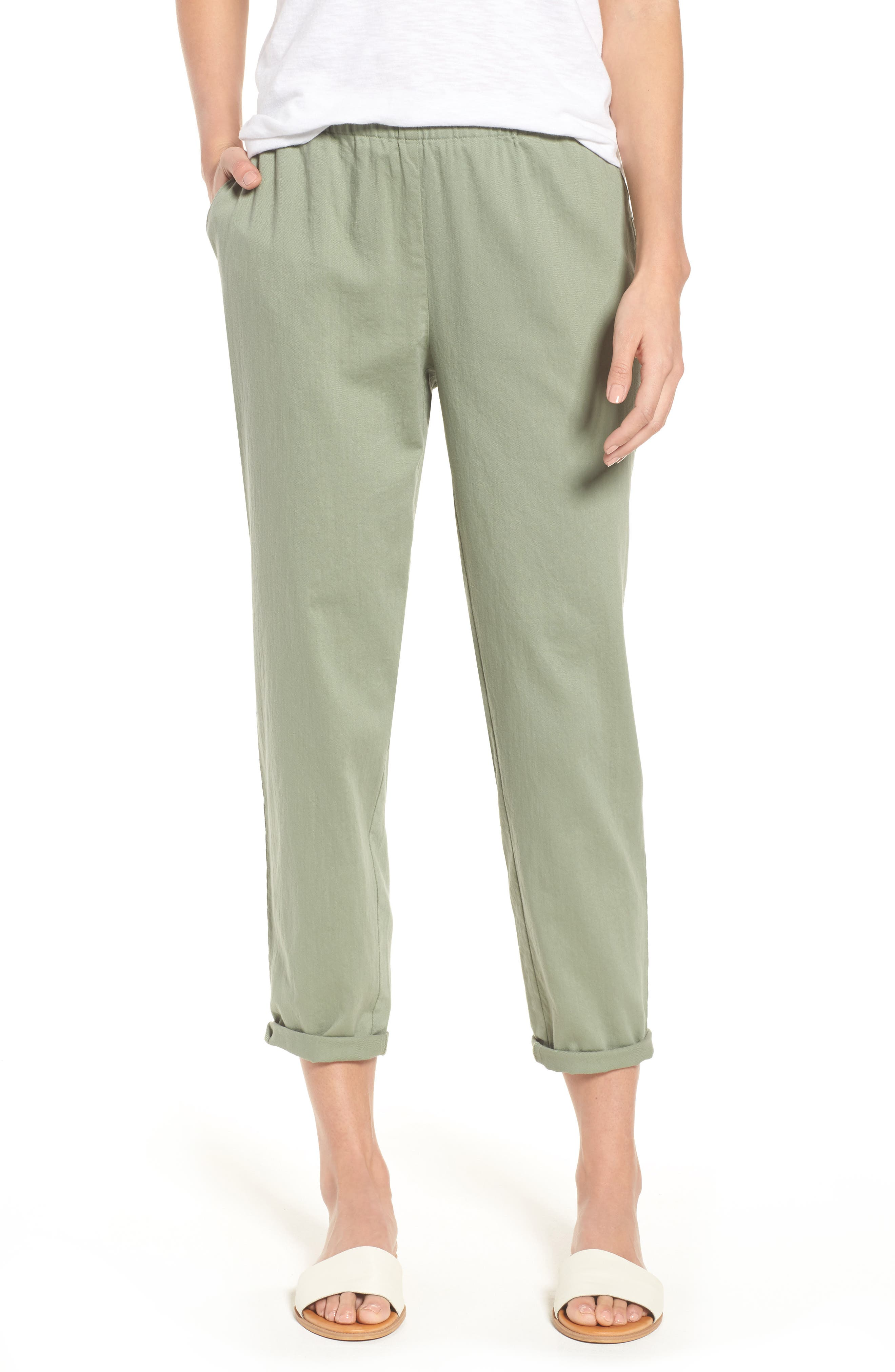 Organic Cotton Tapered Ankle Pants,                             Main thumbnail 2, color,