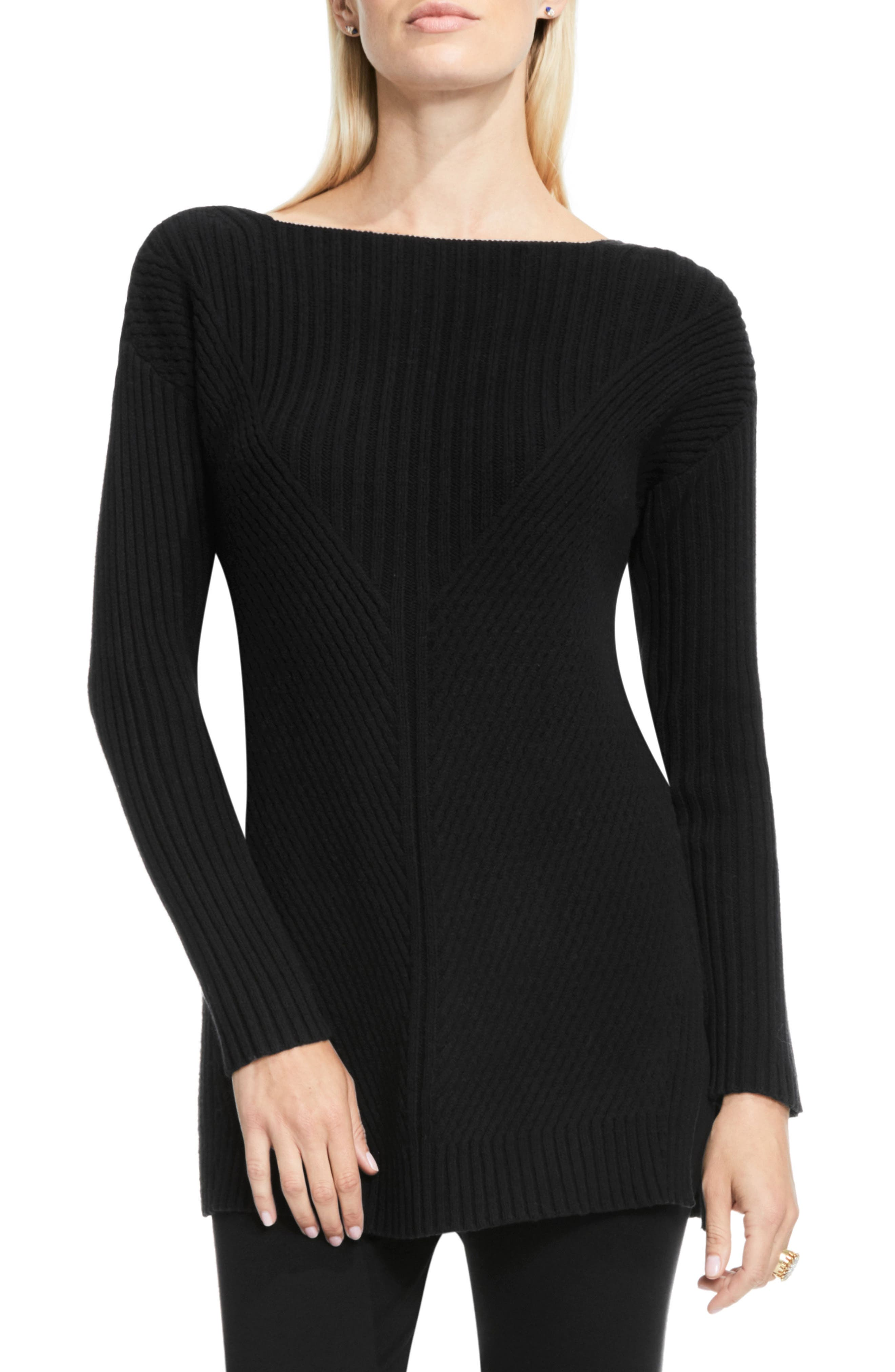VINCE CAMUTO Rib Knit Long Sweater, Main, color, 006