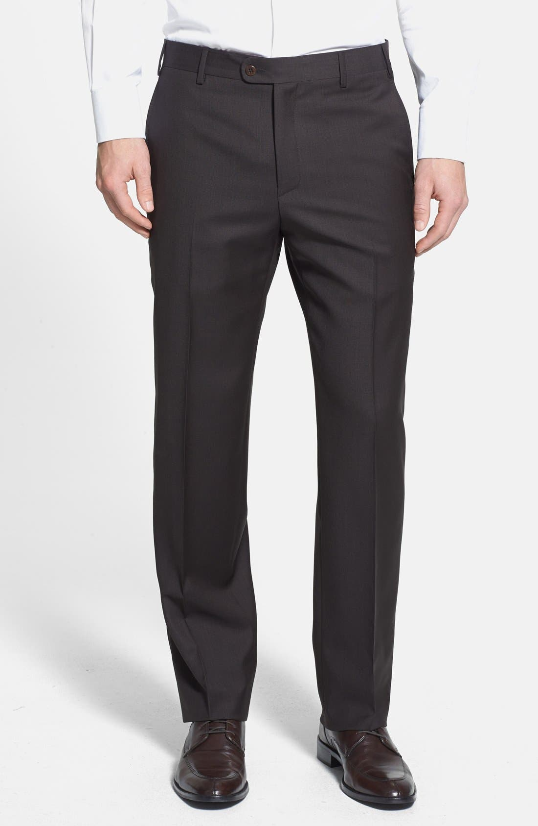 'Devon' Flat Front Wool Trousers,                         Main,                         color,