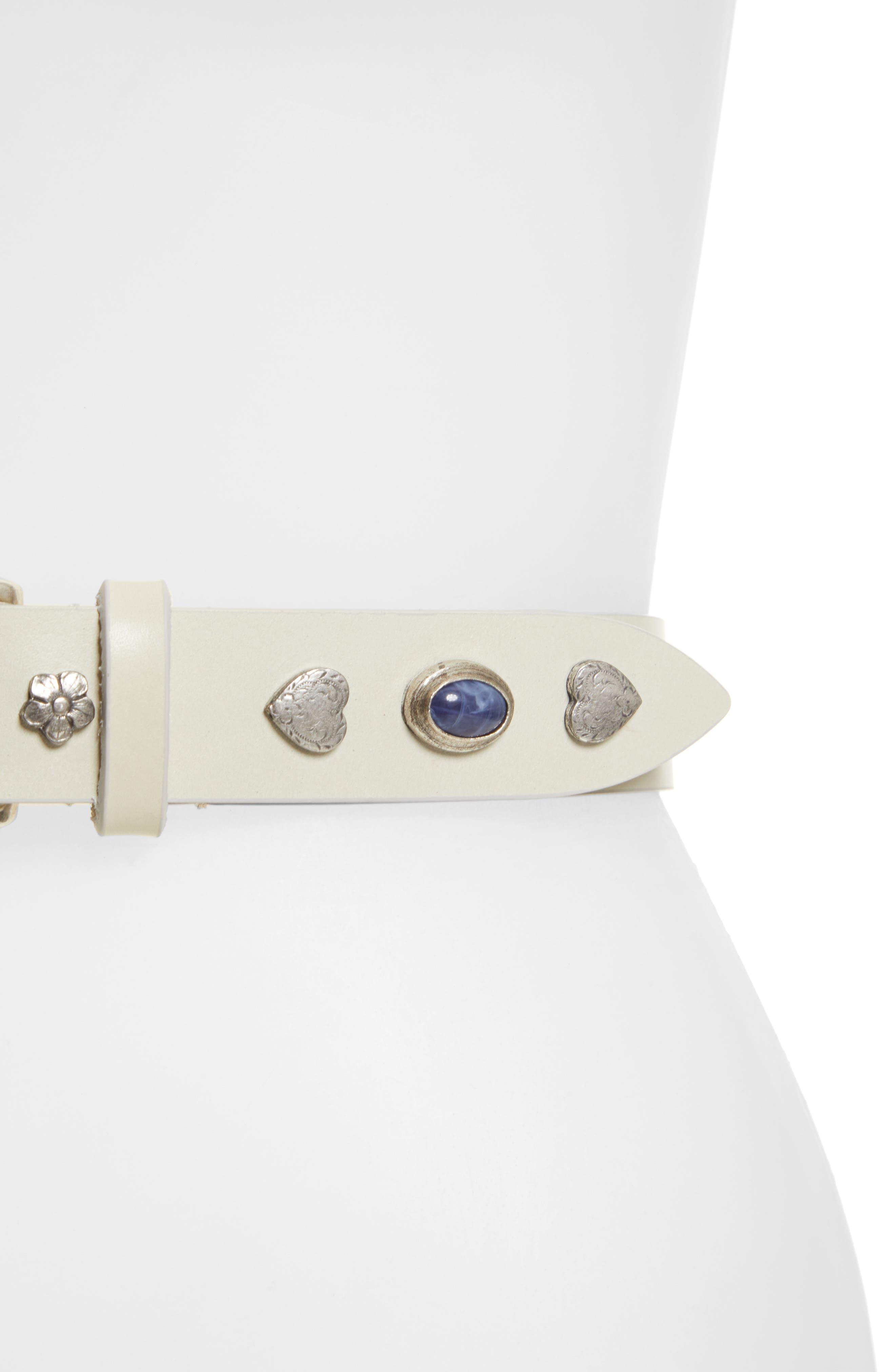 Luke Embellished Leather Belt,                             Alternate thumbnail 3, color,                             WHITE
