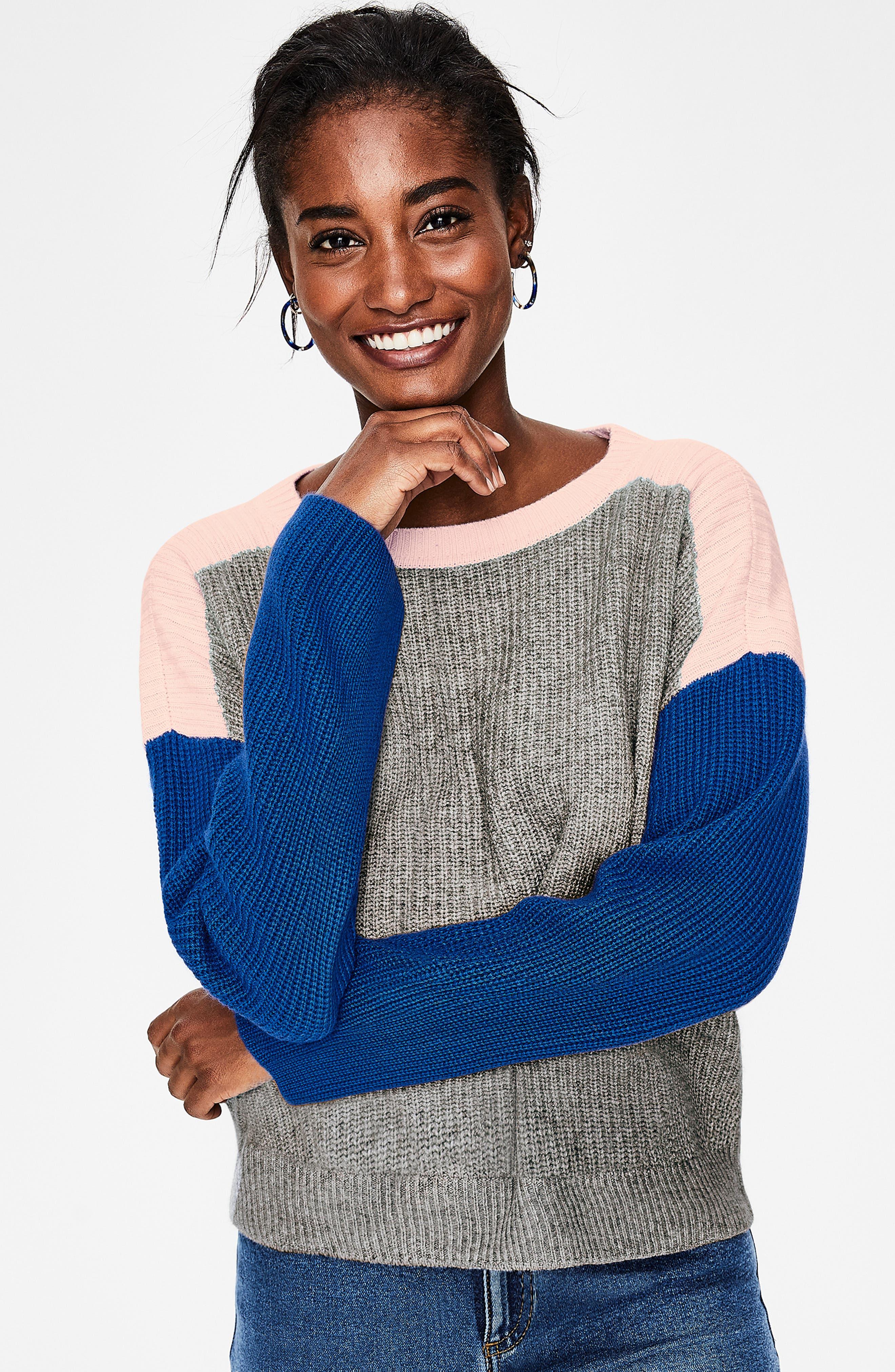 Sophie Colorblock Sweater,                             Alternate thumbnail 4, color,                             GREY MELANGE