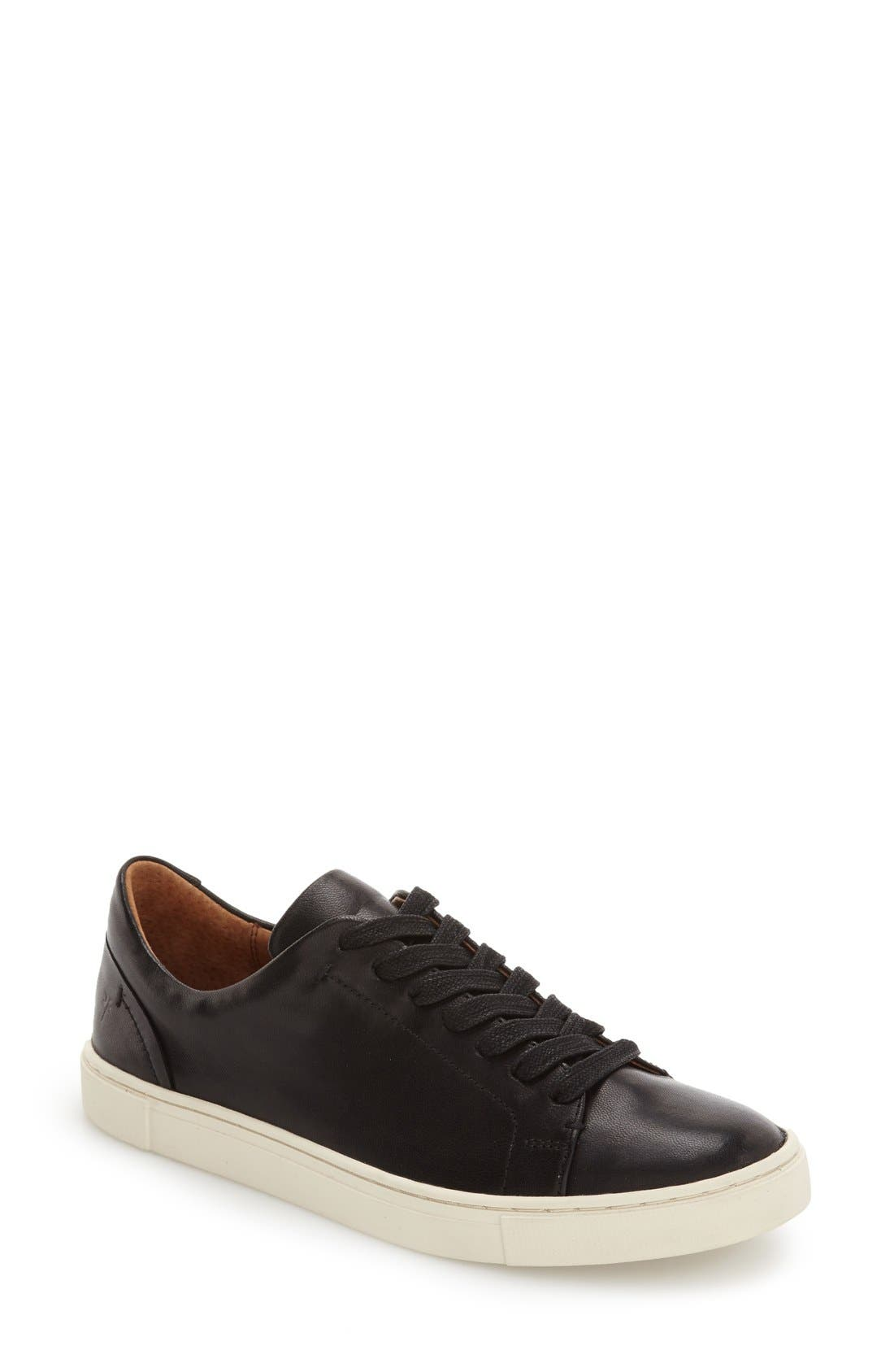 FRYE Ivy Soft Leather Lace-Up Low-Top Sneakers in Black Leather