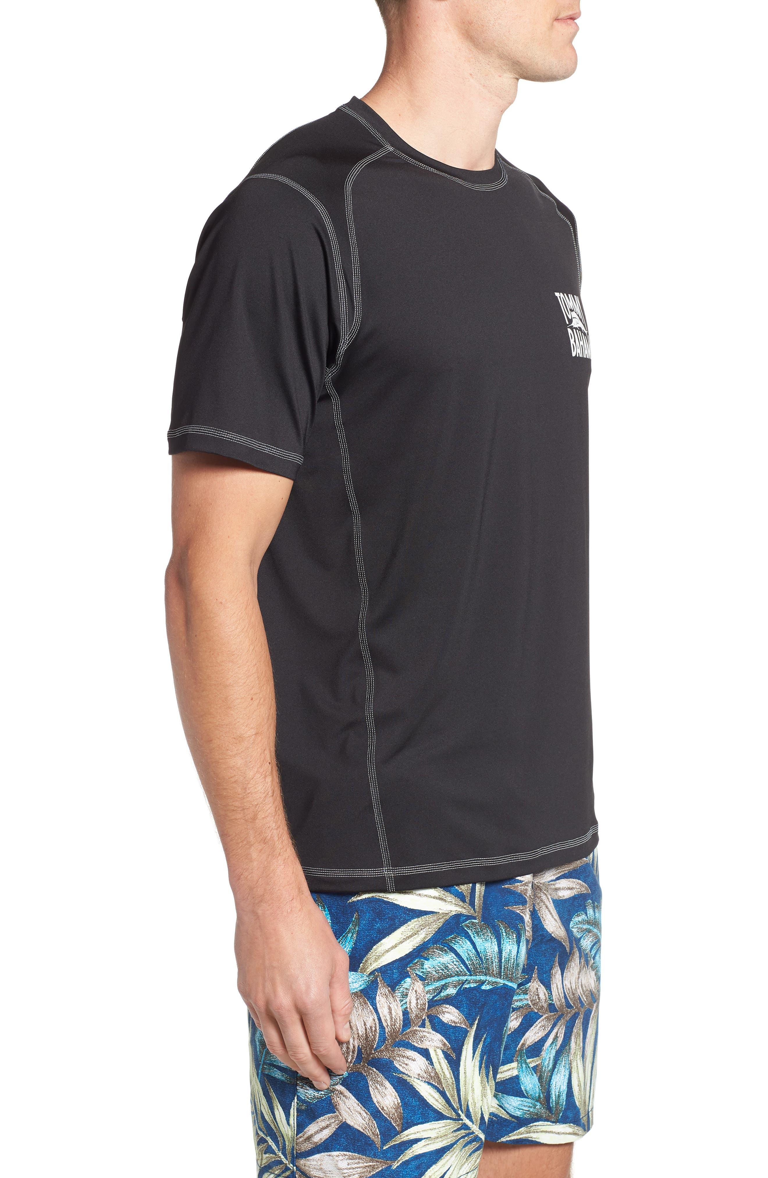 IslandActive<sup>™</sup> Beach Pro Rashguard T-Shirt,                             Alternate thumbnail 3, color,                             BLACK